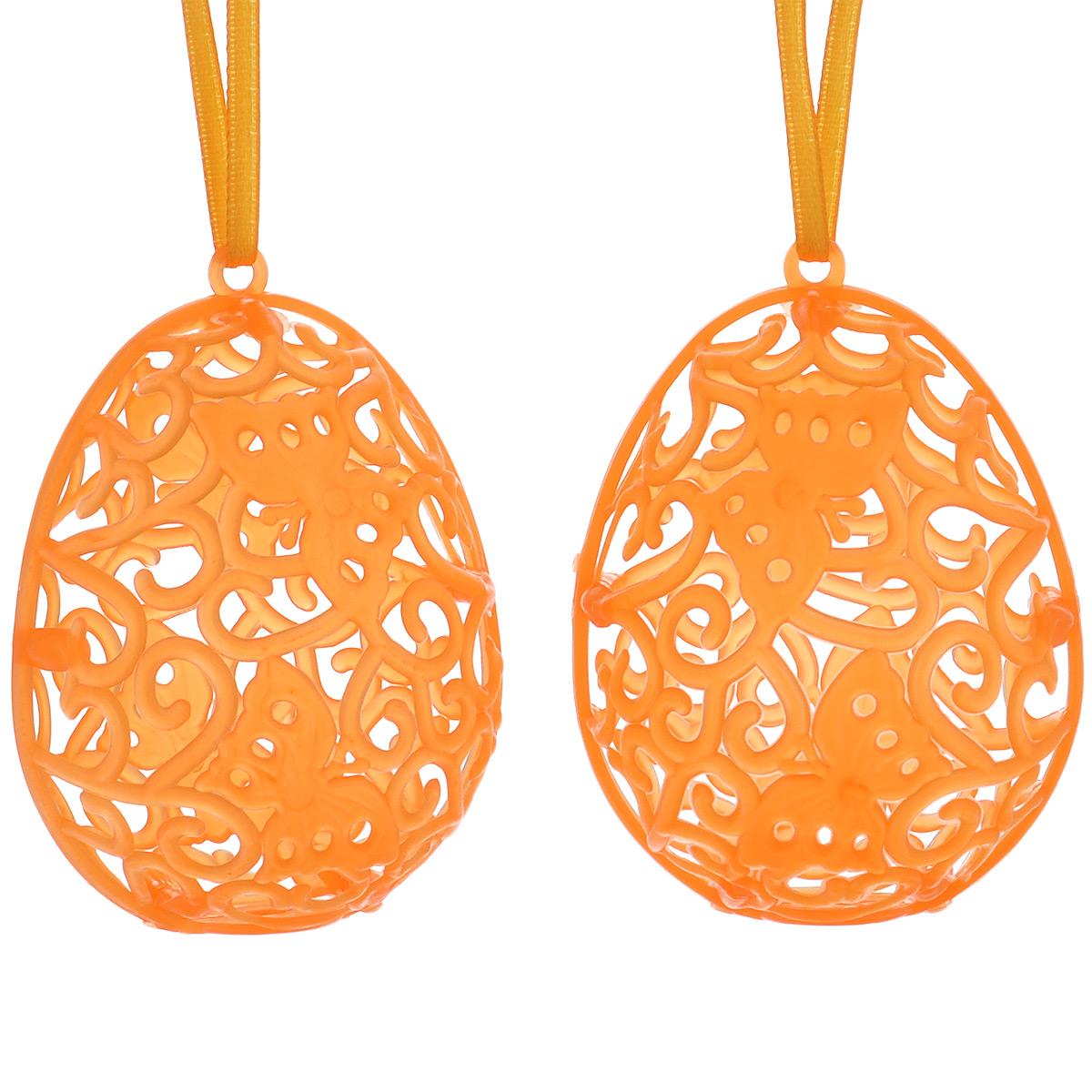 Декоративное подвесное украшение Home Queen Футляр для яйца, цвет: оранжевый, 2 штMB980Набор подвесных украшений Home Queen Футляр для яйца состоит из 2 яиц, изготовленных из пластика и оснащенных петелькой для подвешивания. Резные изделия служат оригинальным футляром для пасхальных яиц.Такие украшения сделают праздник еще наряднее! Размер украшения: 7 см х 5 см.