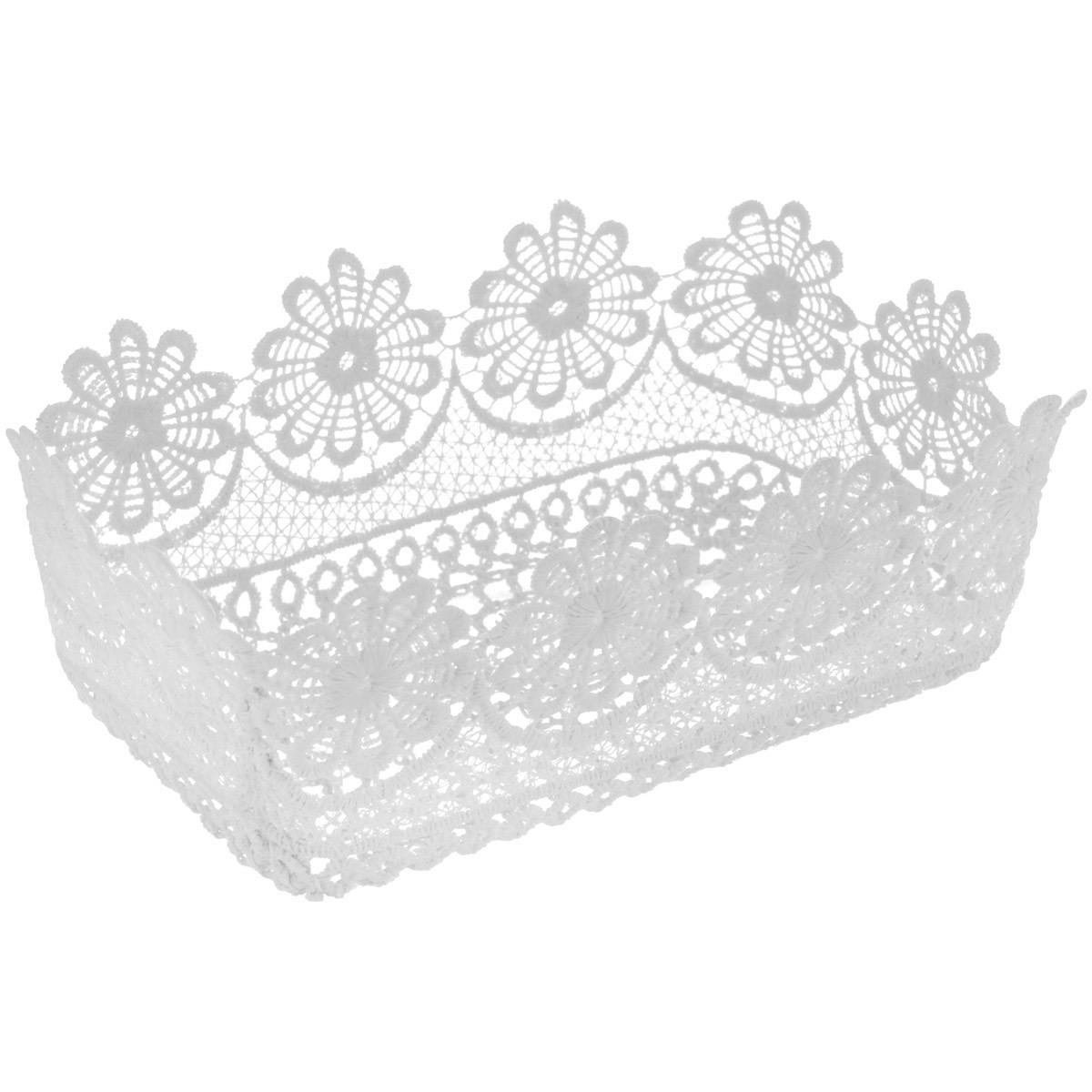 Корзинка Home Queen Ромашки, цвет: белый, 20,5 х 13 х 7,5 смC0038550Прямоугольная корзинка Home Queen Ромашки предназначена для украшения интерьера и сервировки стола. Изделие выполнено из полиэстера с красивым плетением в виде цветочных узоров, имеет жесткую форму. Такая оригинальная корзинка станет ярким украшением стола. Идеальный вариант для хранения пасхальных яиц, хлеба или конфет.
