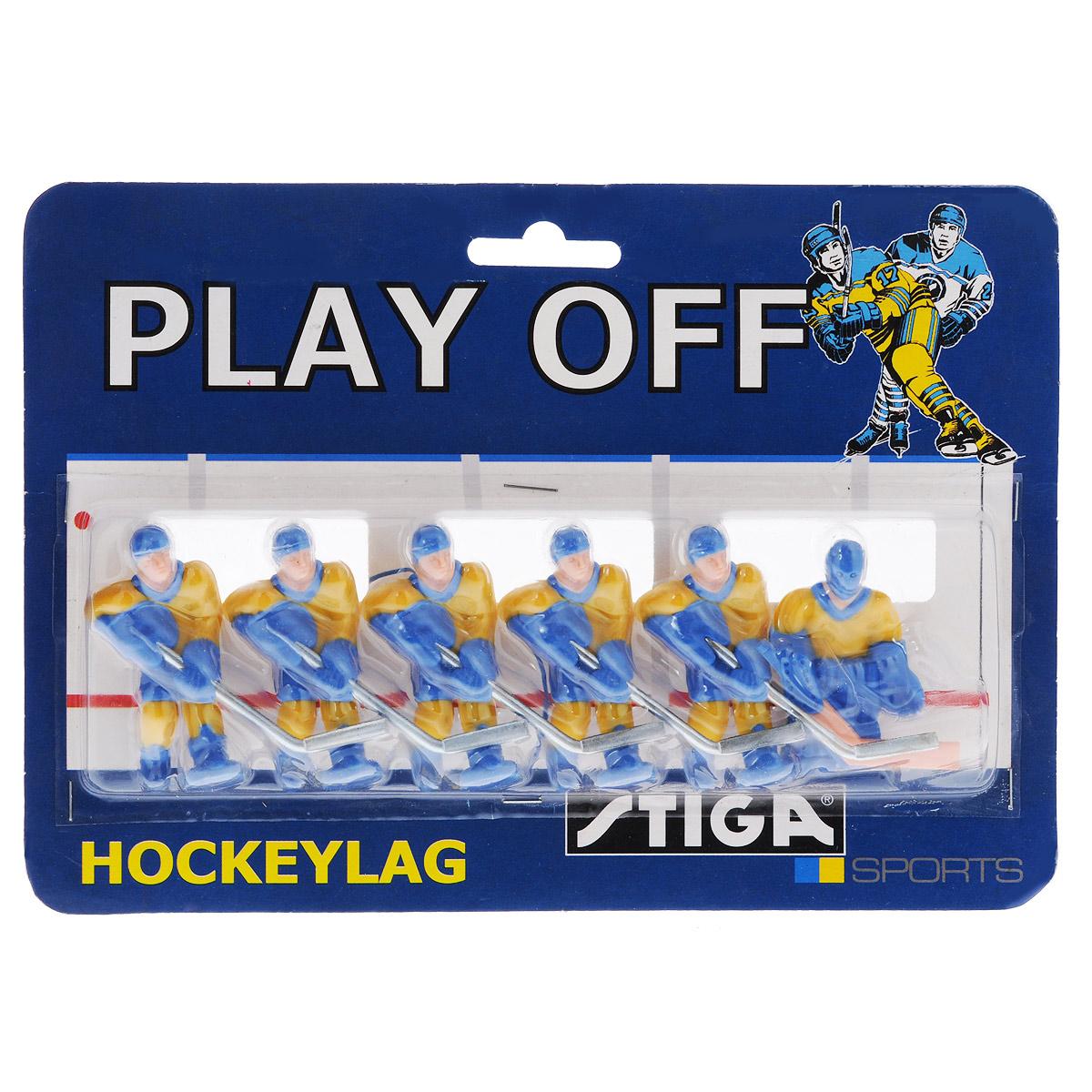 """Команда игроков Stiga """"Сборная Швеции"""" включает 6 фигурок хоккеистов. Фигурки предназначены для игры в настольный хоккей Stiga Play Off. Оснащены специальными отверстиями для крепления. Команда имеет раскраску формы, аналогичную настоящей сборной Швеции. Игроки имеют отличную детализацию и раскрашены вручную. В команде: вратарь и 5 праворуких хоккеистов. Теперь можно будет сыграть в настольный хоккей за сборную Швеции. Благодаря опции смены игроков вы сами сможете решать, какая команда сегодня """"выйдет"""" на игровое поле, а набор из фигурок хоккеистов лишь подогреет азарт. Высота фигурки: 6 см. Количество фигурок: 6 шт."""