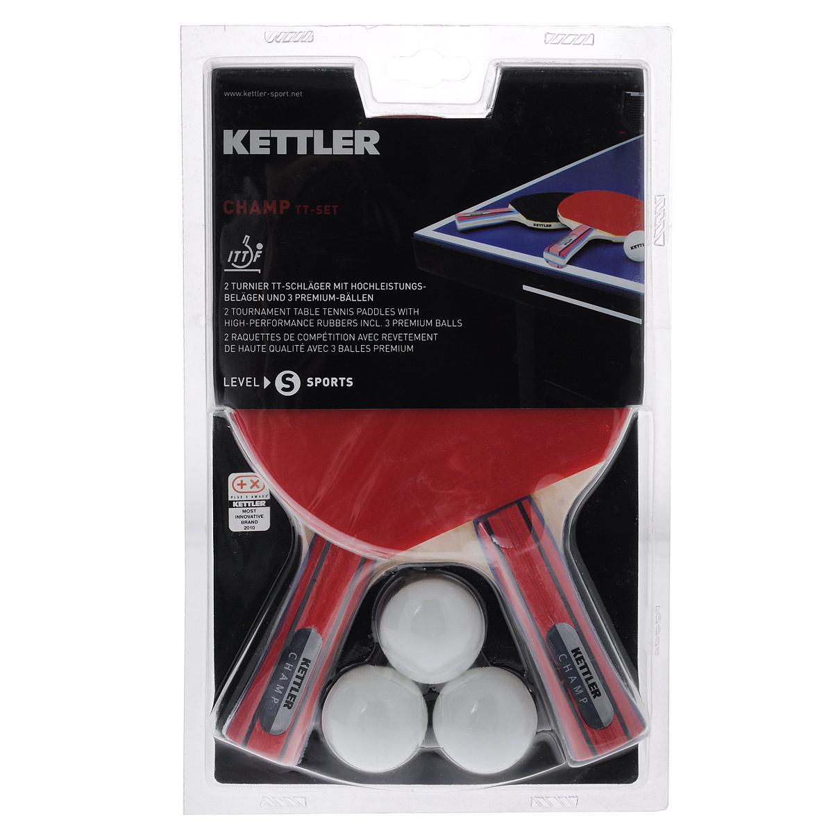 Набор для настольного тенниса Kettler Champ, 5 предметов3B327Набор для настольного тенниса Kettler Champ включает в себя 2 профессиональные ракетки и 3 белых мячика, предназначен для опытных игроков. Ракетки выполнены из пятислойной фанеры и оснащены накладками из резины толщиной 1,5 мм. Анатомическая рукоятка эргономичной формы специально разработана для надежного хвата и комфортной игры. Хороший контроль, отличные игровые характеристики, высокая скорость игры. В набор также входят 3 мяча (3 звезды/40 мм). Настольный теннис - спортивная игра, основанная на перекидывании мяча ракетками через игровой стол с сеткой, цель которой- не дать противнику отбить мяч.Игра в настольный теннис развивает концентрацию, внимание, ловкость и координацию. Длина ракетки: 25 см. Диаметр шара: 4 см. Класс: S. Скорость: 80%. Вращение: 70%. Контроль: 60%.