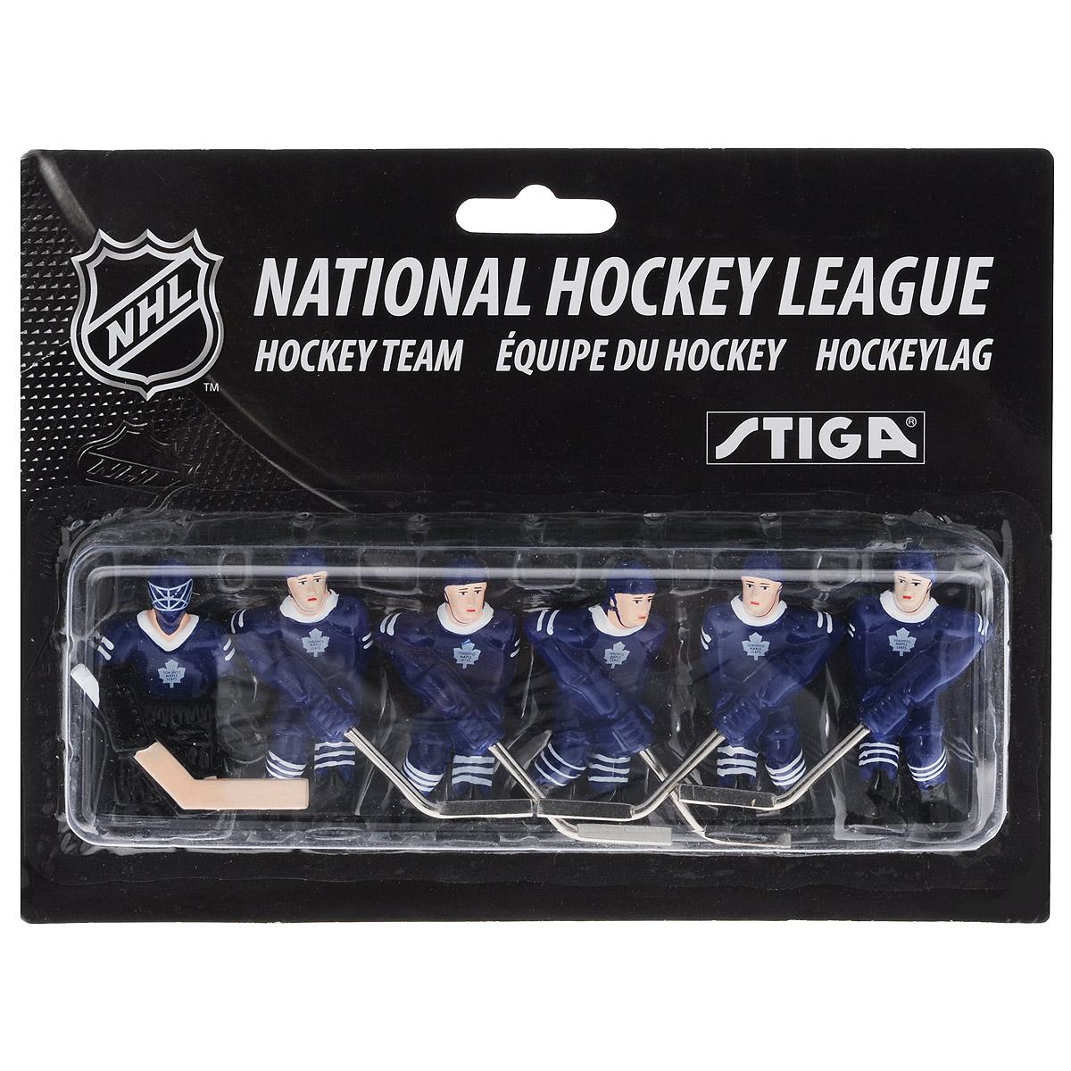 """Команда игроков Stiga """"Toronto Maple Leafs"""" включает 6 фигурок хоккеистов. Фигурки предназначены для игры в настольный хоккей. Оснащены специальными отверстиями для крепления. Команда имеет раскраску формы, аналогичную настоящей команде NHL Toronto Maple Leafs. Игроки имеют отличную детализацию и раскрашены вручную. В команде: вратарь, 2 леворуких и 3 праворуких хоккеиста. Теперь вы можете сыграть в настольный хоккей за команду """"Toronto Maple Leafs"""". Игроки предназначены для хоккея Stiga NHL Stanley Cup. Однако, несмотря на некоторые отличия, они также без проблем подойдут для Stiga Play Off и Stiga High Speed. Высота фигурки: 6 см. Количество фигурок: 6 шт."""
