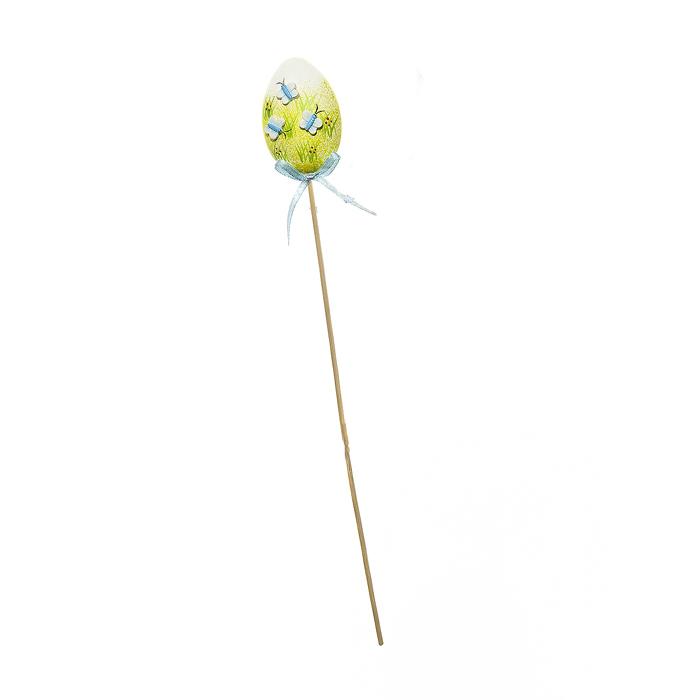 Декоративное пасхальное украшение на ножке Home Queen Бабочки, цвет: синий, высота 32 см334365Украшение пасхальное Home Queen Бабочки изготовлено из высококачественного пластика и предназначено для украшения праздничного стола. Украшение выполнено в виде яйца на деревянной шпажке и украшено бабочками. Такое украшение прекрасно дополнит подарок для друзей и близких на Пасху. Высота: 32 см. Размер фигурки: 4,5 см х 2,5 см х 6 см.