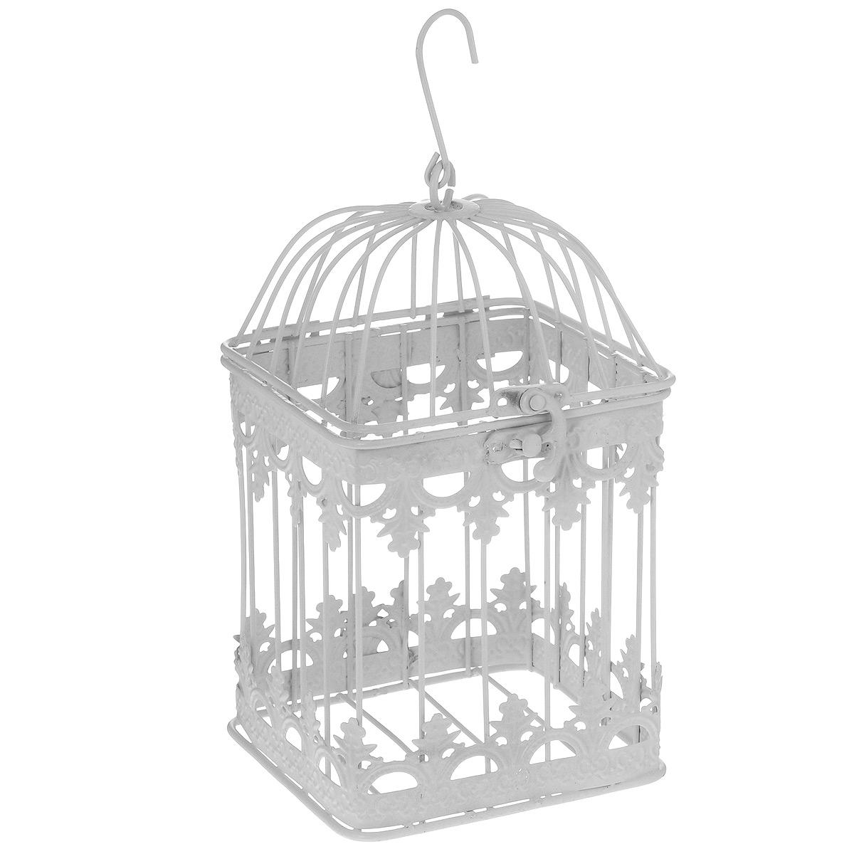 Клетка декоративная Ажурная, цвет: белый, 12 х 21 смC0038550Декоративная клетка Ажурная выполнена из высококачественного металла. Изделие украшено изящными коваными узорами. Клетка оснащена крышкой, которая закрывается на специальный замок. На крышке имеется крючок, за который клетку можно повесить в любое удобное место. Такая клетка подойдет для декора интерьера дома или офиса. Кроме того - это отличный вариант подарка для ваших близких и друзей.Диаметр клетки: 12 см. Высота клетки: 21 см.