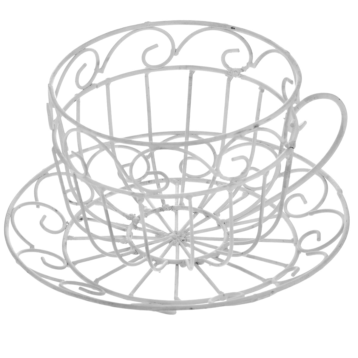 Кашпо Чайная чашка, цвет: белый, 20 х 11 см28780Кашпо Чайная чашка изготовлено из металла в виде чайной чашке.Кашпо - декоративная ваза для цветочных горшков.Фигурные кашпо для цветов служат объектом декора помещения. Дом, украшенный фигурными кашпо, приобретает свою оригинальность, свой характер. Неожиданные и оригинальные кашпо для цветов - это самый простой и доступный способ сделать дом, дачу или приусадебную территорию неповторимыми. Кашпо Чайная чашка - красивый и оригинальный сувенир для друзей и близких.Диаметр кашпо: 20 см. Высота кашпо: 11 см.