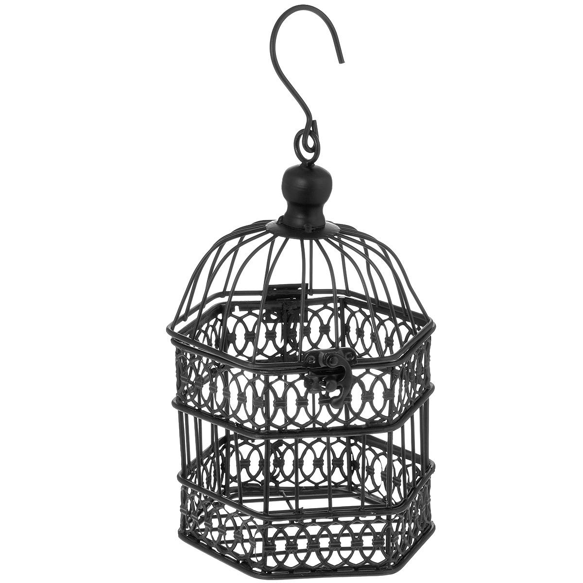 Клетка декоративная Узорчатая, цвет: черный, 13 см х 14,5 см х 21 см66794_3Декоративная клетка Узорчатая выполнена из высококачественного металла шестиугольной формы. Изделие украшено изящными коваными узорами. Клетка оснащена крышкой, которая закрывается на специальный замок. На крышке имеется крючок, за который клетку можно повесить в любое удобное место. Такая клетка подойдет для декора интерьера дома или офиса. Кроме того - это отличный вариант подарка для ваших близких и друзей.Размер клетки: 13 см х 14,5 см х 21 см.