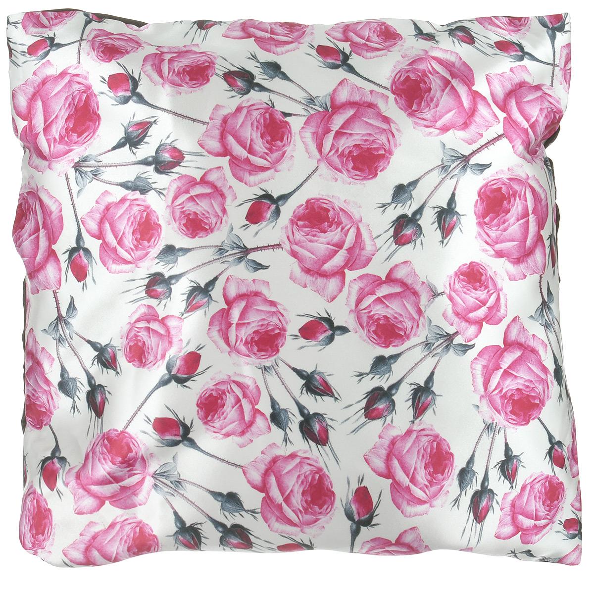 Подушка декоративная Розы, 40 см х 40 см17102027Декоративная подушка Розы прекрасно дополнит интерьер комнаты. Чехол подушки выполнен из гладкого и приятного на ощупь сатина. Чехол на молнии, поэтому подушку легко стирать. Внутри - мягкий наполнитель. Лицевая сторона подушки украшена красочным цветочным рисунком, задняя сторона - насыщенного шоколадного цвета. Стильная и яркая подушка эффектно украсит интерьер и добавит в привычную обстановку изысканность и роскошь.