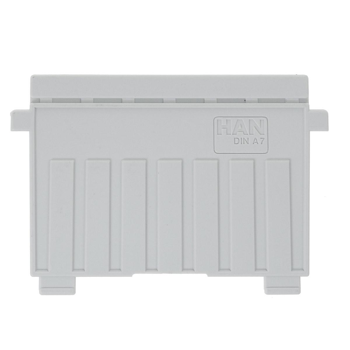 """Разделитель для картотеки """"Han"""" изготовлен из пластика серого цвета. Предназначен для горизонтальных картотек HAN. Имеется специальное поле для установки индексного окна (сверху)."""