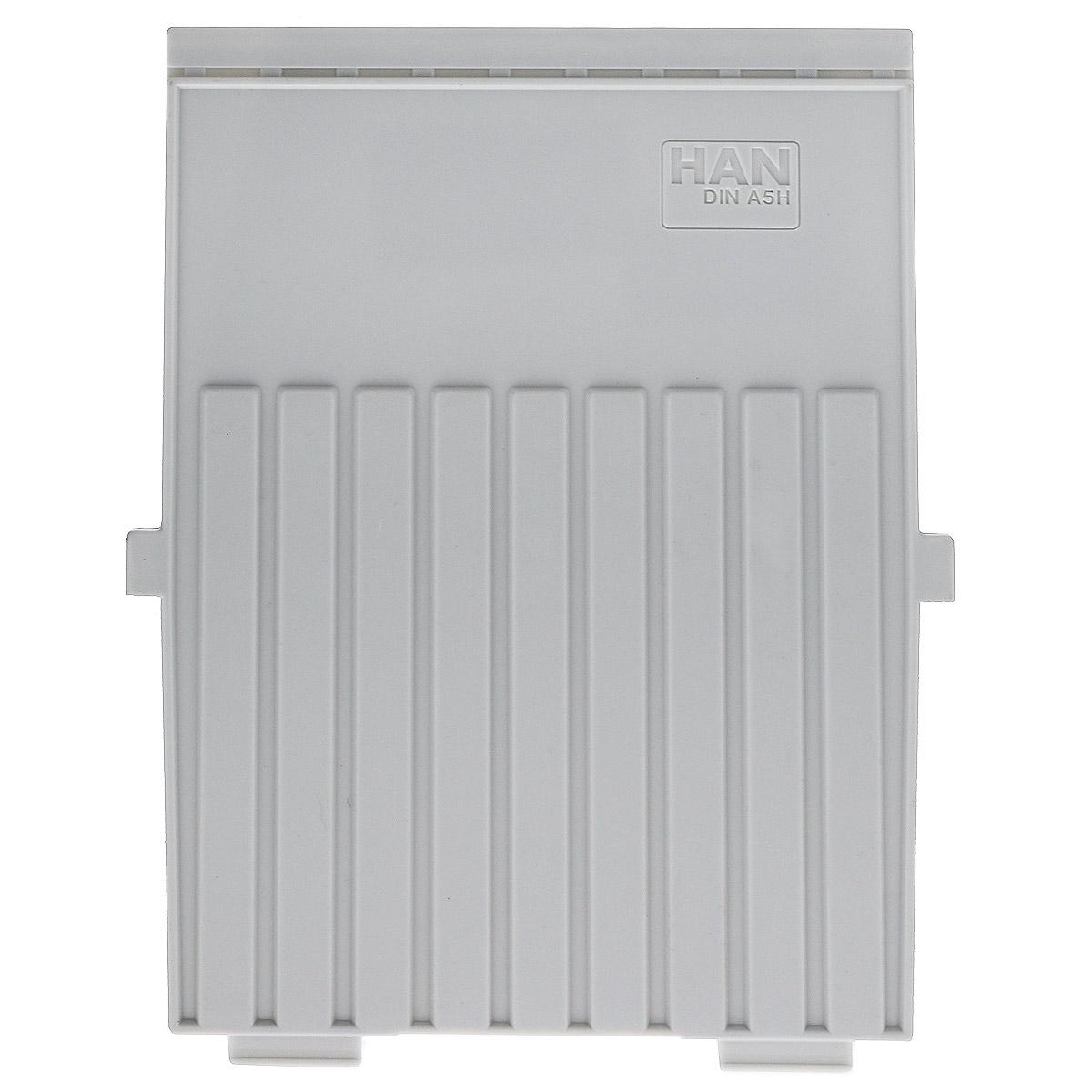 Разделитель для вертикальной картотеки Han, цвет: серый. Формат А52715Разделитель для картотеки Han изготовлен из пластика серого цвета. Предназначен для вертикальных картотек HAN. Имеется специальное поле для установки индексного окна (сверху).