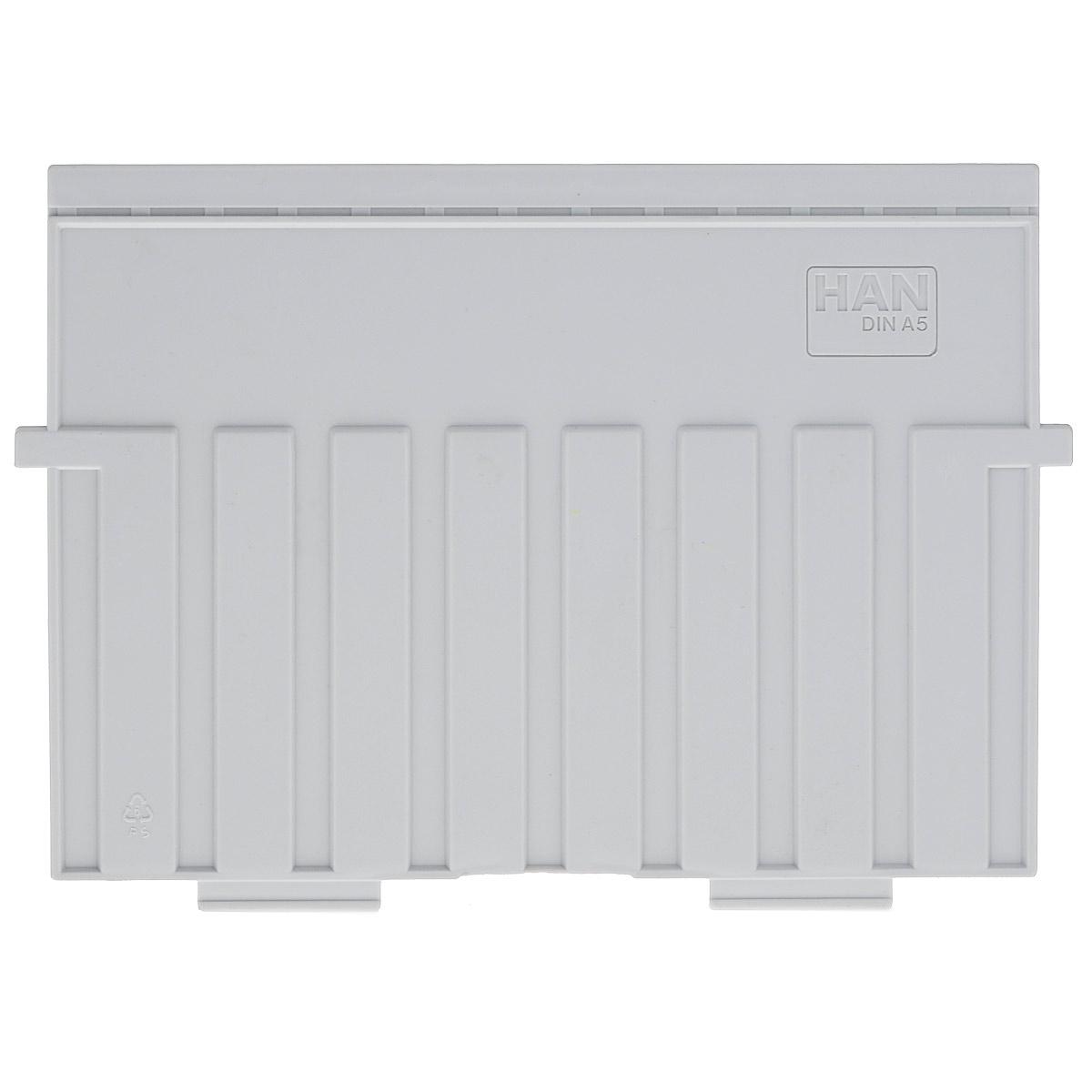 Разделитель для горизонтальной картотеки Han, цвет: серый. Формат А5FS-54115Разделитель для картотеки Han изготовлен из пластика серого цвета. Предназначен для горизонтальных картотек HAN. Имеется специальное поле для установки индексного окна (сверху).