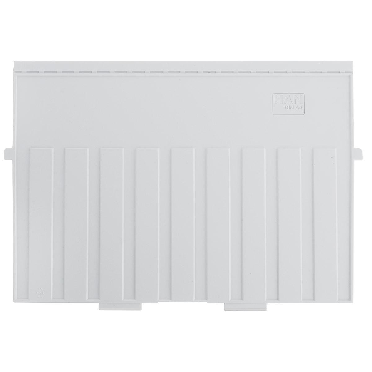 Разделитель для горизонтальной картотеки Han, цвет: серый. Формат А4AC-1121RDРазделитель для картотеки Han изготовлен из пластика серого цвета. Предназначен для горизонтальных картотек HAN. Имеется специальное поле для установки индексного окна (сверху).