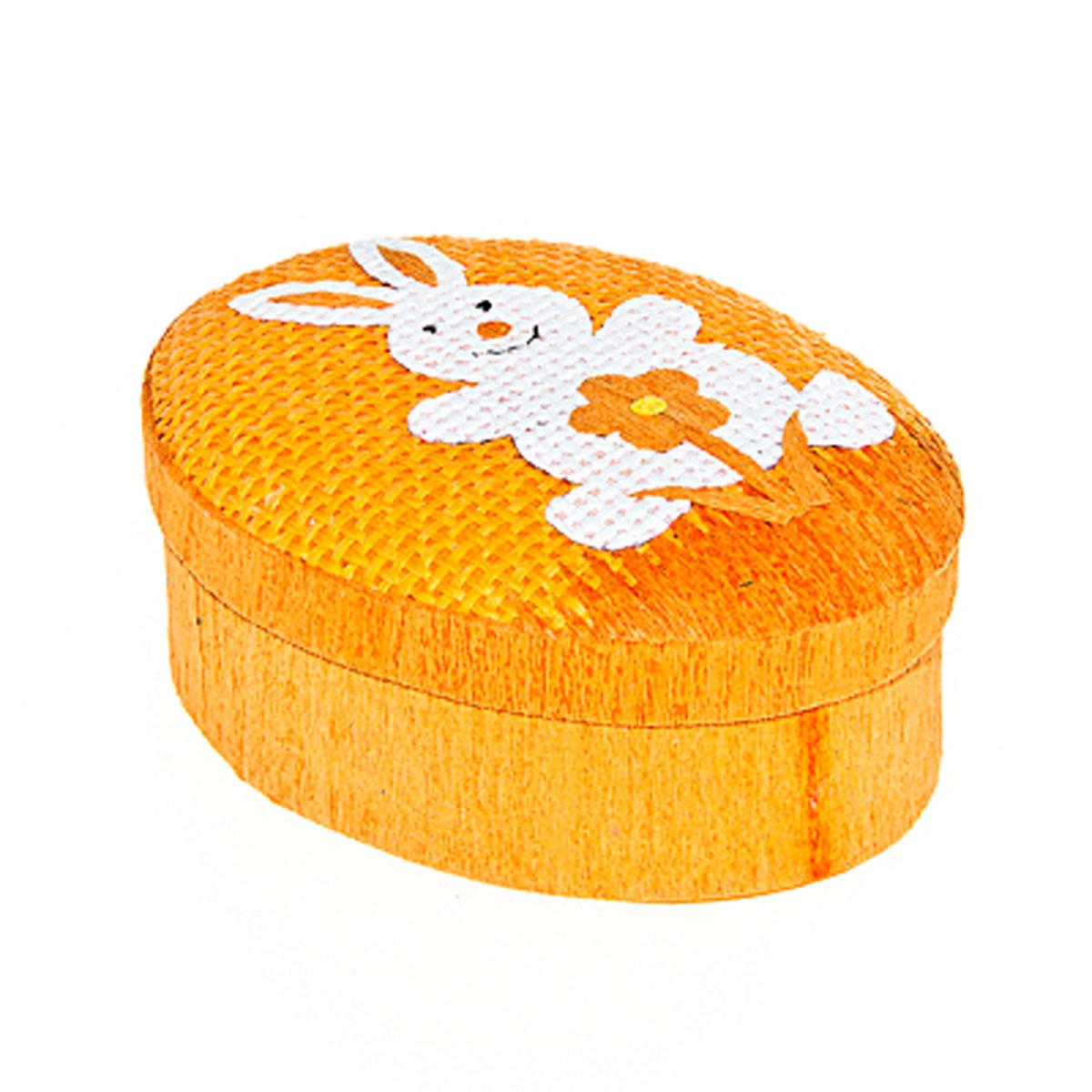 Шкатулка декоративная Home Queen Кролик с цветочком, цвет: оранжевый, 10,5 х 8 х 4 смNLED-420-1.5W-RОвальная шкатулка Home Queen Кролик с цветочком изготовлена из бумаги. Крышка изделия украшена рельефным рисунком в виде кролика и цветка. Изящная шкатулка прекрасно подойдет для упаковки пасхального подарка для детей и взрослых, а также красиво украсит интерьер комнаты. Размер: 10,5 см х 8 см х 4 см.