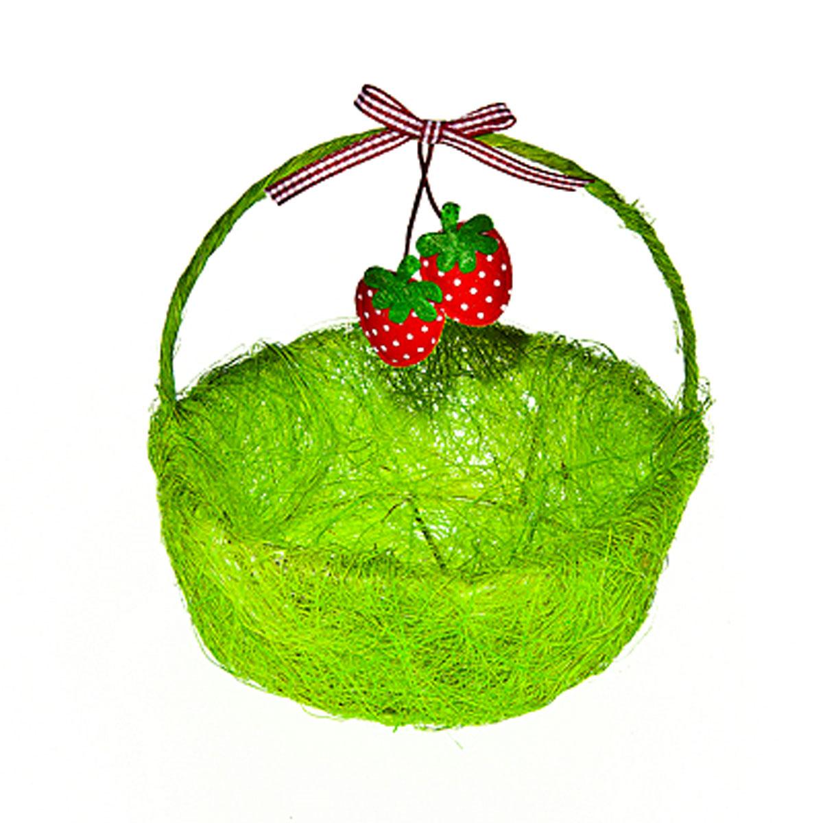 Корзина декоративная Home Queen Ягоды, цвет: зеленый, 14 х 13 5 см