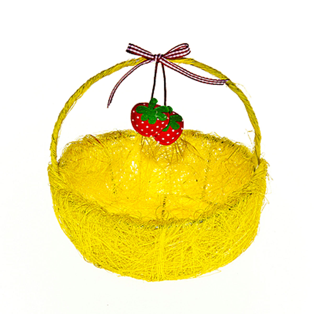 Корзина декоративная Home Queen Ягоды, цвет: желтый, 14 см х 13 см х 5 см55052Декоративная корзина Home Queen Ягоды предназначена для хранения различных мелочей и аксессуаров. Изделие имеет металлический каркас, обтянутый нитями из полиэстера. Корзина оснащена удобной ручкой и декорирована подвесным украшением в виде текстильных ягод с бантиком.Такая корзина станет оригинальным и необычным подарком или украшением интерьера. Размер корзины: 14 см х 13 см х 5 см.Диаметр дна: 10 см.Высота ручки: 10 см.