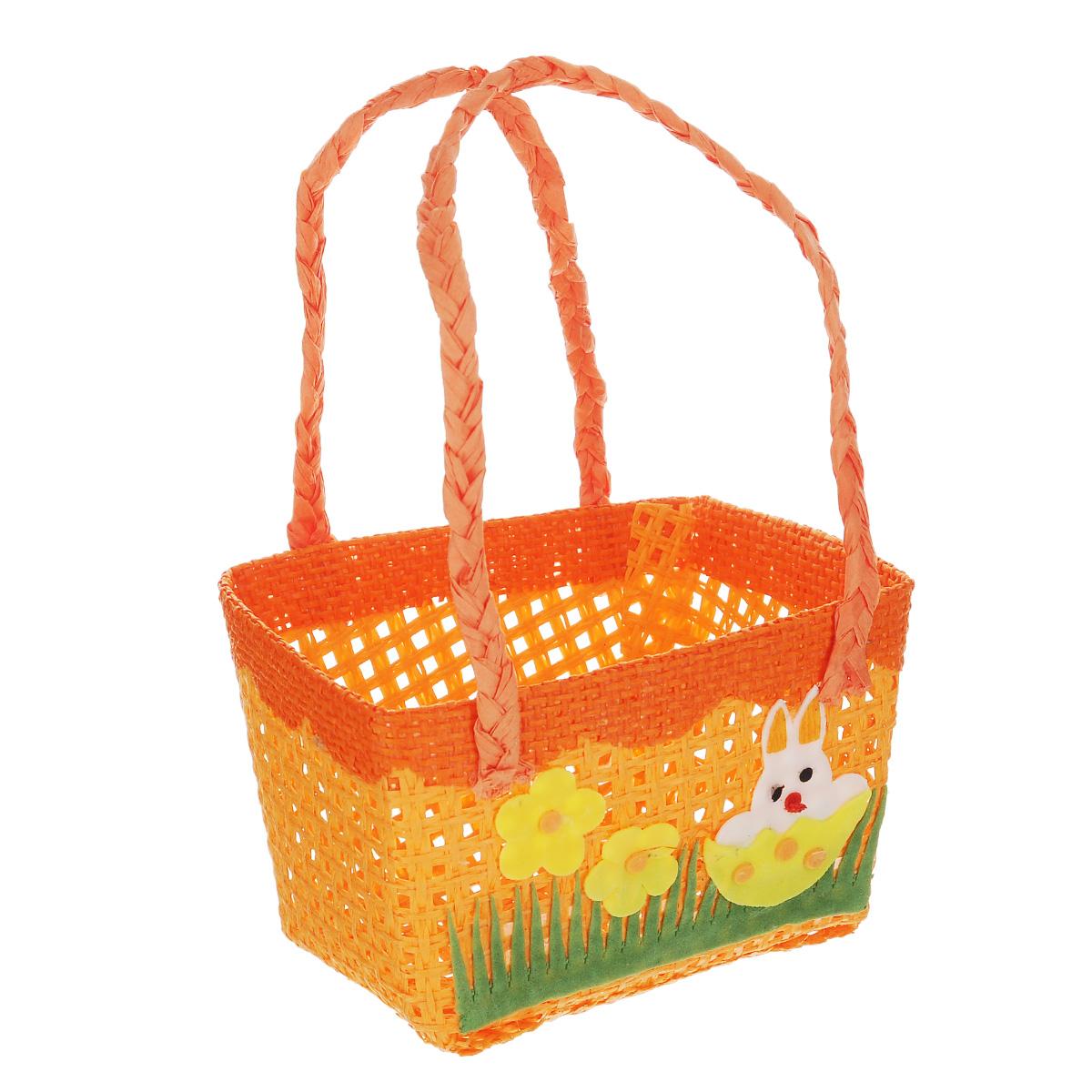 Корзинка декоративная Home Queen Крольчонок, цвет: оранжевый, 12 см х 8,5 9
