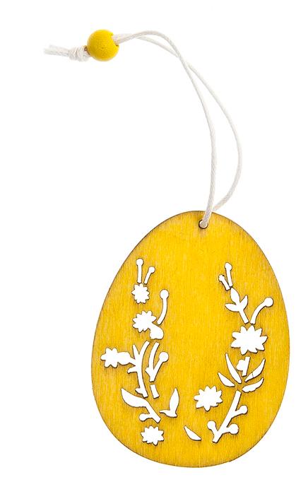 Декоративное подвесное украшение Home Queen Узорный орнамент. Яйцо, цвет: желтый706594Декоративное украшение Home Queen Узорный орнамент. Яйцо изготовлено из высококачественного дерева. Украшение выполнено в виде яйца и декорировано перфорацией. С помощью текстильной петельки изделие можно повесить в любом удобном для вас месте.Такое украшение прекрасно оформит интерьер дома или станет замечательным подарком для друзей и близких на Пасху. Размер фигурки: 4,5 см х 0,2 см х 6 см.