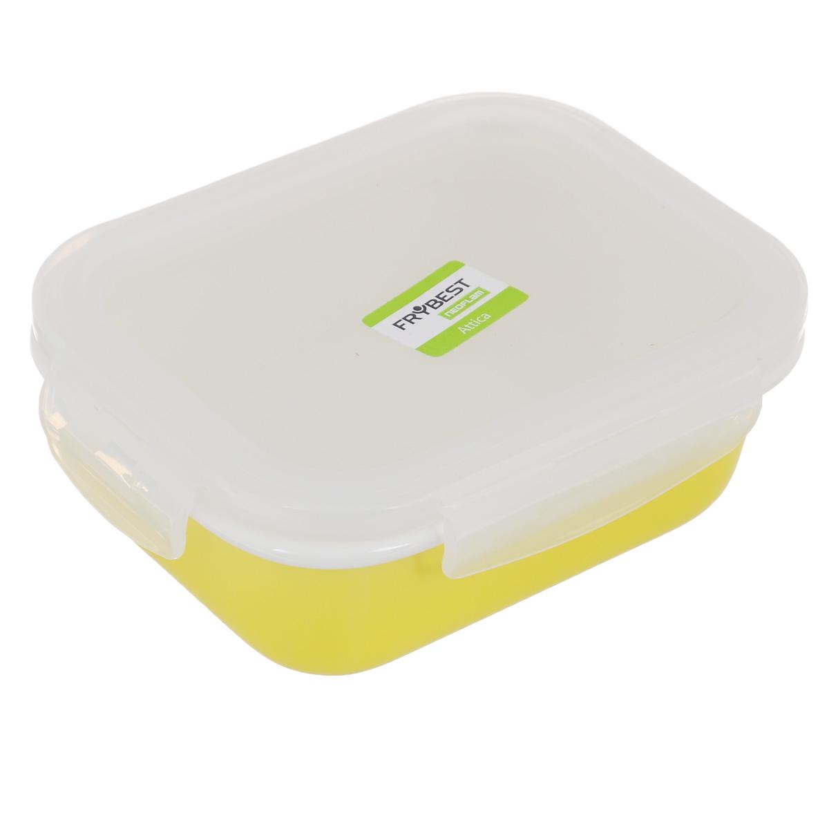 Контейнер Frybest Attica Rainbow, с крышкой, цвет: желтый, 370 млVT-1520(SR)Контейнер Frybest Attica Rainbow изготовлен из высококачественного фарфора, покрытого слоем сверкающей глазури. Продукт экологичен, так как не содержит токсичных и ядовитых материалов. Цвет материала не блекнет со временем, а покрытие не впитывает запах продуктов. Контейнер оснащен прозрачной пластиковой крышкой, которая плотно закрывается на 4 защелки. Превосходная герметичность позволяет дольше сохранять свежесть продуктов. Утонченный европейский дизайн: прекрасное украшение стола. Подходит для мытья в посудомоечной машине, хранения в холодильной и морозильной камерах. Объем: 370 мл.