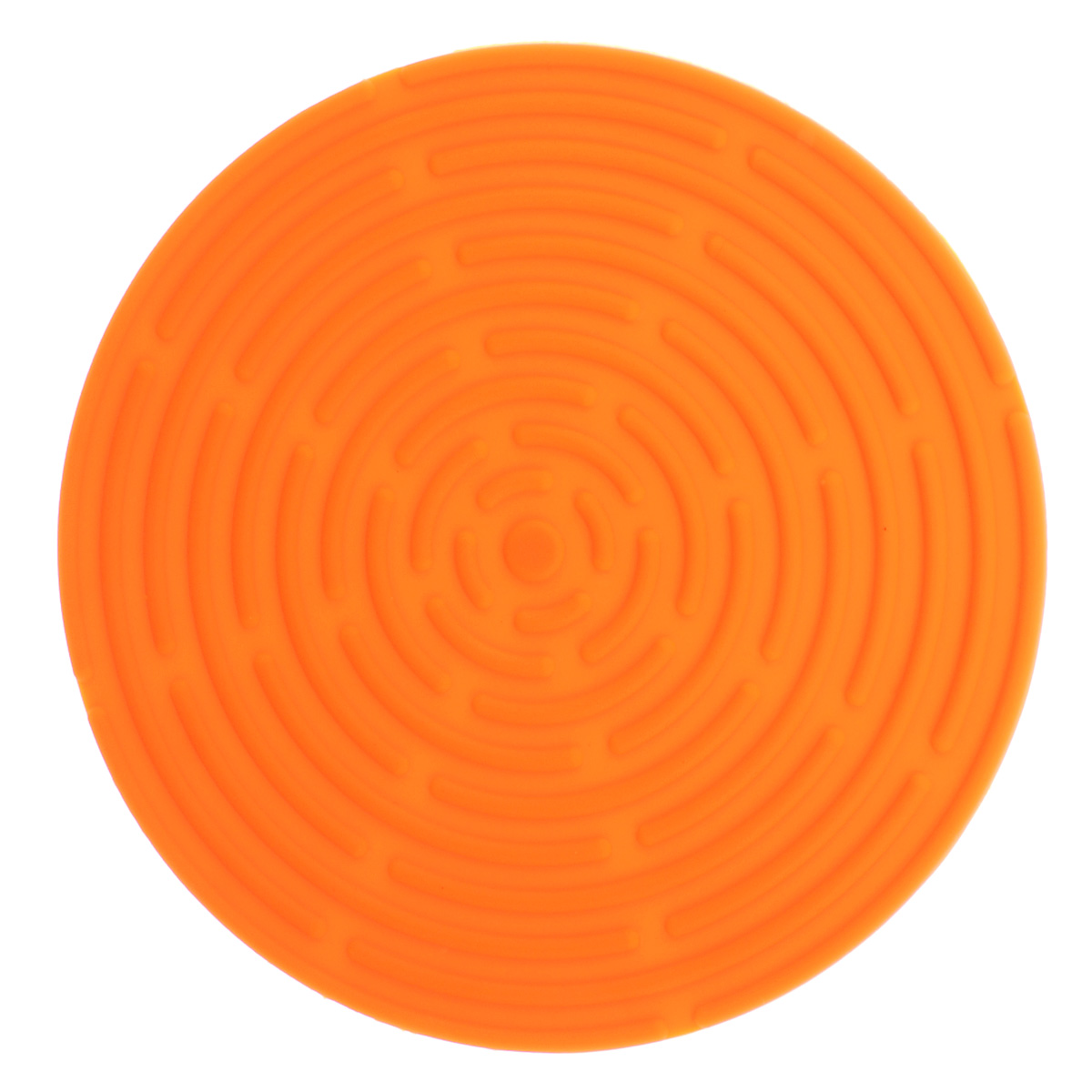 Подставка под горячее Atlantis, цвет: оранжевый, диаметр 15 см23516Круглая подставка под горячее Atlantis изготовлена из высококачественного пищевого силикона. Выдерживает температуру до +230°С, не впитывает запахи и предохраняет поверхность вашего стола от высоких температур. Оригинальный дизайн внесет свежесть и новизну в интерьер кухни. Подставка под горячее станет незаменимым помощником на кухне. Легко моется в посудомоечной машине.