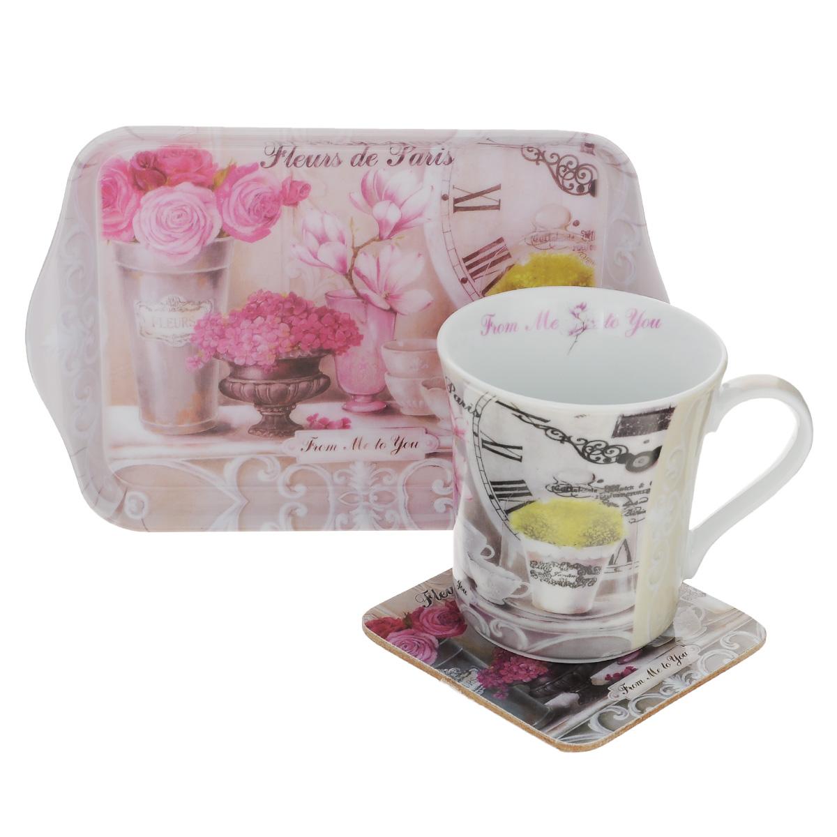 Набор чайный GiftnHome Парижские цветы, 3 предмета115510Чайный набор GiftnHome Парижские цветы состоит из кружки, подноса и подставки под кружку. Все изделия декорированы красочным изображением цветов. Кружка изготовлена из высококачественного фарфора. Поднос изготовлен из высококачественного пластика и предназначен для красивой сервировки стола. Подставка под кружку изготовлена из пробки. Ламинированное покрытие подставки обеспечивает стойкость к высоким температурам. Такая подставка защитит поверхность стола от загрязнений и воздействия высоких температур напитка. Оригинальный набор порадует вас своим дизайном и станет неизменным атрибутом чаепития. Чайный набор GiftnHome Парижские цветы прекрасно подойдет в качестве сувенира и привнесет индивидуальности в обычную сервировку стола. Диаметр кружки: 8,5 см.Высота: 9,5 см.Объем: 300 мл. Размер подноса: 21 см х 14 см х 1,7 см. Размер подставки: 10 см х 10 см х 2 см.