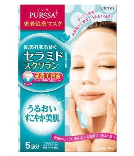 Utena Питательная маска Puresa для лица с церамидами и скваланом 5шт.х15 мл.,Z3813Маски серии Puresa, пропитанные увлажня-ющими и питательными ингредиентами - эффективный способ преобразить Вашу кожу, сделать ее упругой, здоровой и красивой. Благодаря тому, что сыворотка, которой пропитана маска, имеет тройную концентрацию активных компонентов, маска за короткое время отдает всю силу полезных ингредиентов Вашей коже.Церамиды, в составе сыворотки, являются важнейшими компонентами клеточной мембраны, обеспечивающие нормальное клеточное дыхание. Проникая в кожу, способствуют эффективному удержанию влаги в ее структуре. Сквалан так же прекрасно увлажняет и смягчает, предотвращает появление ощущения сухости кожи.Маска плотно прилегает к коже, обеспечивая этим интенсивное проникновение лосьона в роговой слой кожи.Не содержит красителей и ароматизаторов.