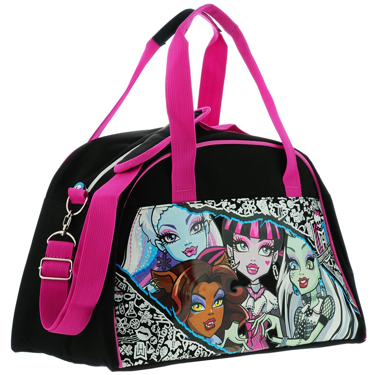Детская спортивная сумка Monster High придется по вкусу любой активной девочке, посещающей спортзал или спортивные секции.Сумка изготовлена из высококачественного износостойкого полиэстера и оформлена оригинальным глянцевым изображением персонажей мультсериала Monster High. Сумка состоит из одного вместительного отделения, закрывается на застежку-молнию. Внутри располагается небольшой пришивной карман на застежке-молнии.  Сумка снабжена удобными ручками для переноски, а также регулирующимся по длине съемным плечевым ремнем с мягкой накладкой. Сумка очень просторная, в ней без труда поместится спортивная форма или сменная одежда.Спортивная сумка - незаменимый аксессуар для юного спортсмена, который сочетает в себе практичность и оригинальный дизайн. Удобная и красочная сумка сделает посещение спортивных секций еще более приятным занятием. Порадуйте свою малышку таким замечательным подарком!