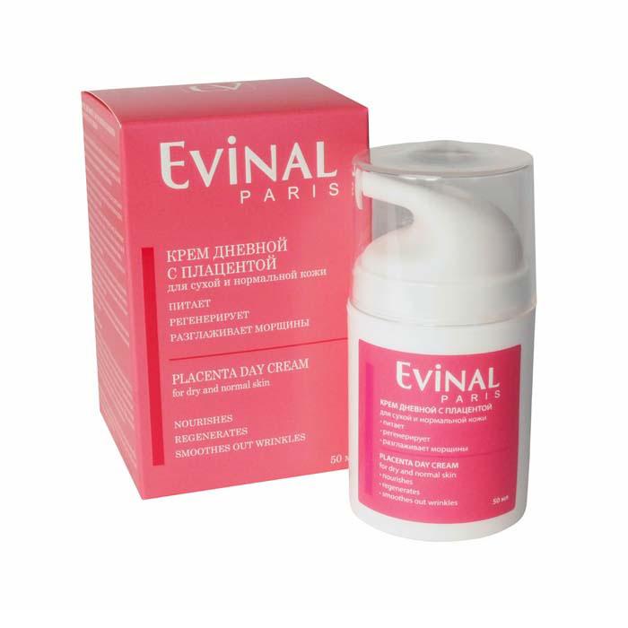 Крем для лица Evinal, с экстрактом плаценты, дневной, для сухой и нормальной кожи, 50 мл0974Дневной крем Evinal с плацентой рекомендуется в качестве ухода за зрелой кожей лица, подверженной образованию морщин, ослаблению упругости, потере мягкости и тонуса. Плацента питает, увлажняет, регенерирует кожный покров, обеспечивает мощный кислородный обмен и защиту от воздействия вредных факторов окружающей среды. Ферменты плаценты блокируют действия свободных радикалов, стимулирующих процессы старения. Благодаря уникальному составу, крем с плацентой тормозит процесс разрушения коллагена, стимулирует его синтез, а также поддерживает обновление клеток. Характеристики: Объем: 50 мл. Производитель: Россия. Артикул: 0974. Товар сертифицирован.