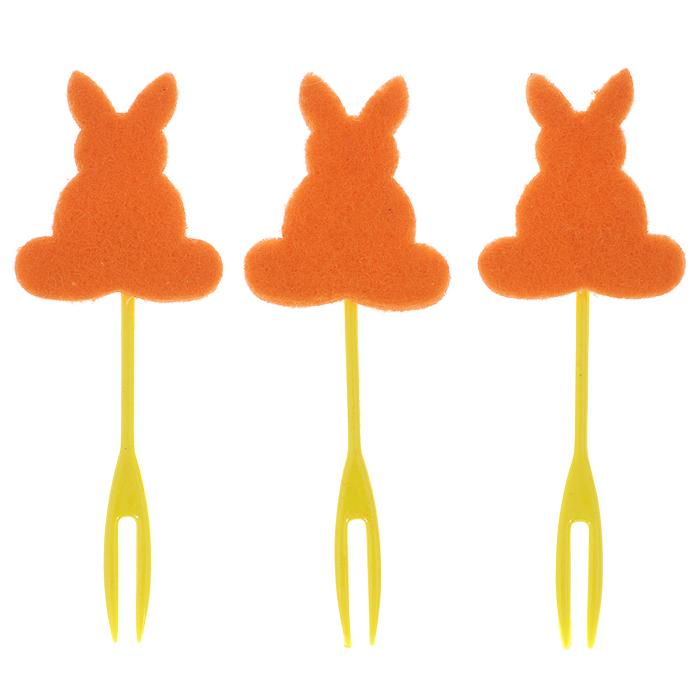Набор декоративных вилочек Home Queen Кролик для украшения кулича, цвет: оранжевый, длина 10 см, 3 шт64482Набор Home Queen Кролик, изготовленный из пластика и фетра, состоит из трех декоративных вилочек, предназначенных для украшения пасхального кулича. Изделия декорированы фигурками кроликов. Такой набор прекрасно дополнит оформление праздничного стола на Пасху.Размер фигурки: 4 см х 4 см.