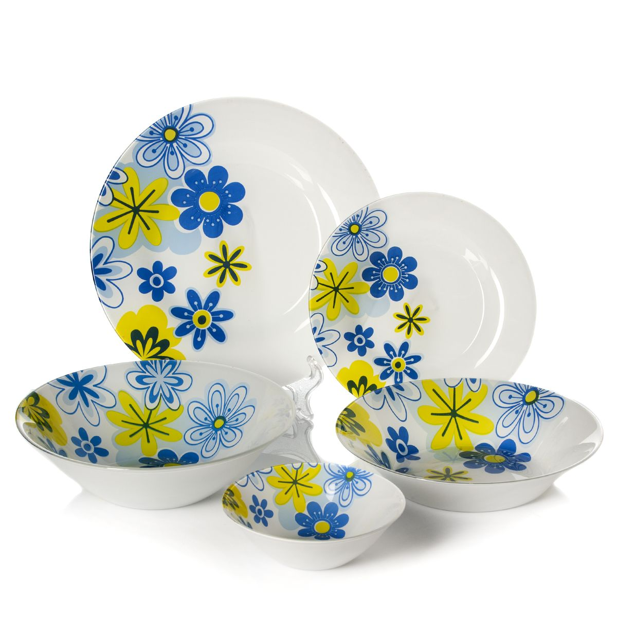 Набор столовый Pasabahce Spring, цвет: белый, голубой, 25 предметов11607-20Столовый набор Pasabahce Spring состоит из шести суповых тарелок, шести десертных тарелок, шести обеденных тарелок и семи салатников. Предметы набора выполнены из натрий-кальций-силикатного стекла, благодаря чему посуда будет использоваться очень долго, при этом сохраняя свой внешний вид. Предметы набора имеют повышенную термостойкость. Набор создаст отличное настроение во время обеда, будет уместен на любой кухне и понравится каждой хозяйке. Красочное оформление предметов набора придает ему оригинальность и торжественность. Практичный и современный дизайн делает набор довольно простым и удобным в эксплуатации.Предметы набора можно мыть в посудомоечной машине.Диаметр суповой тарелки: 22 см.Высота стенок суповой тарелки: 5 см.Диаметр обеденной тарелки: 26 см.Диаметр десертной тарелки: 19,5 см.Диаметр большого салатника: 23 см.Высота стенок большого салатника: 7 см.Диаметр салатника: 14 см.Высота стенок салатника: 4,5 см.