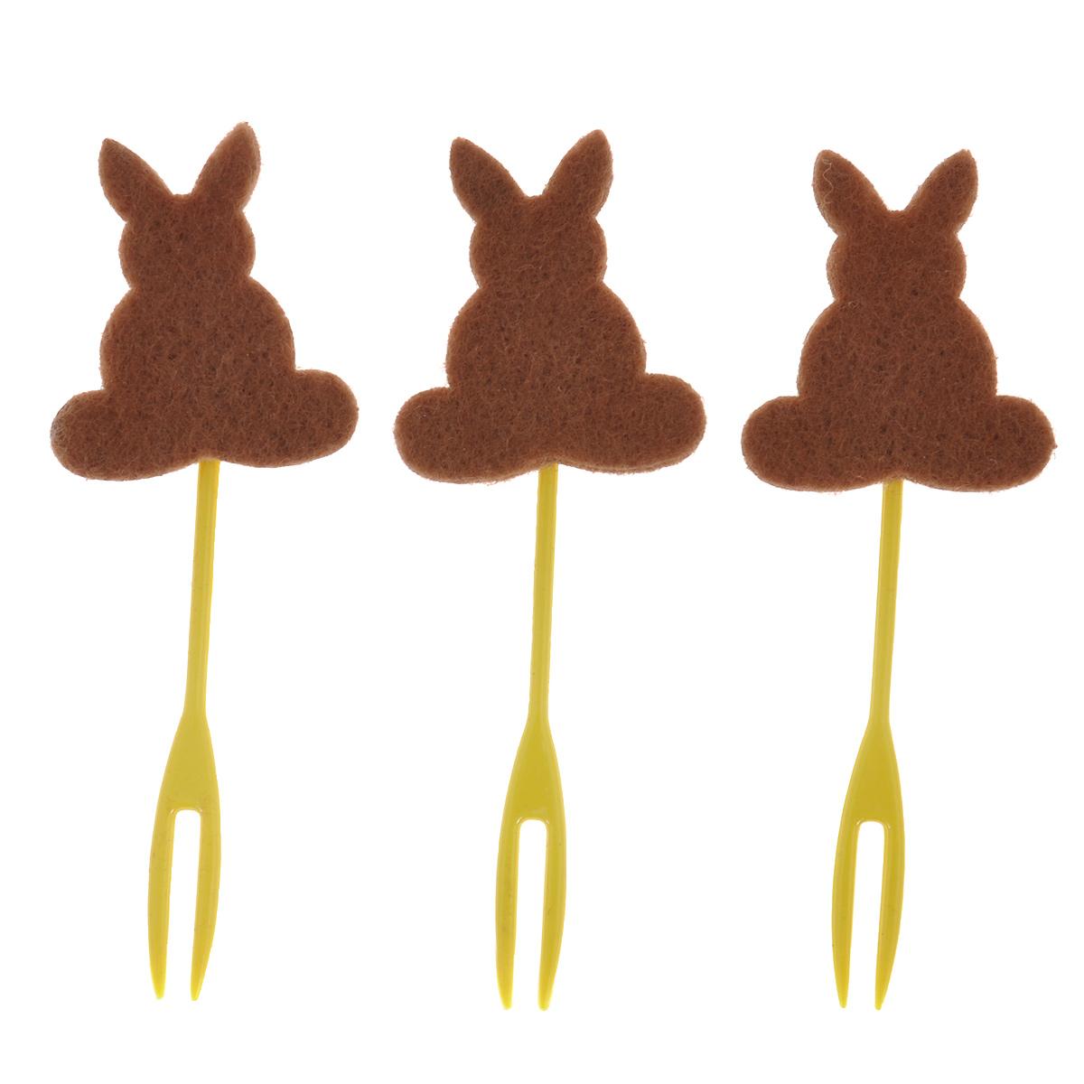 Набор декоративных вилочек Home Queen Кролик для украшения кулича, цвет: коричневый, длина 10 см, 3 штK100Набор Home Queen Кролик, изготовленный из пластика и фетра, состоит из трех декоративных вилочек, предназначенных для украшения пасхального кулича. Изделия декорированы фигурками кроликов. Такой набор прекрасно дополнит оформление праздничного стола на Пасху.Размер фигурки: 4 см х 4 см.