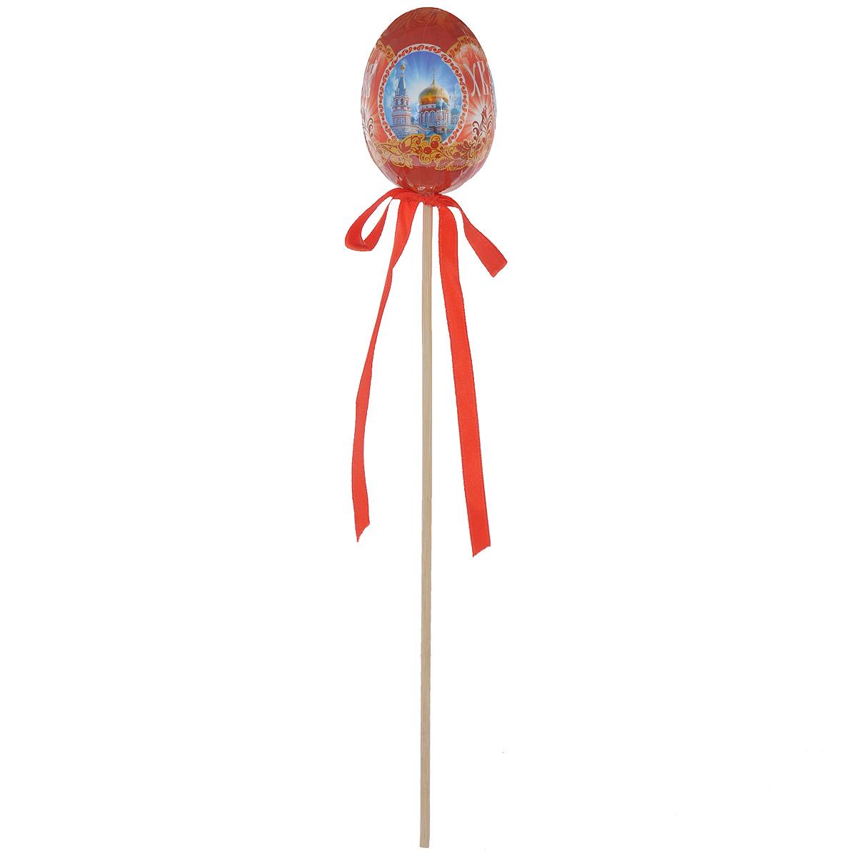 Декоративное украшение на ножке Home Queen Храмы, цвет: красный, высота 26 смA1484FN-1BNДекоративное украшение Home Queen Храмы выполнено из пластика в виде пасхального яйца на деревянной ножке, декорированного изображениями храмов. Изделие украшено текстильной лентой. Такое украшение прекрасно дополнит подарок для друзей или близких. Высота: 26 см. Размер яйца: 6,5 см х 4,5 см.