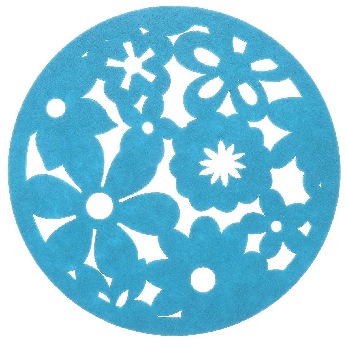 Салфетка Home Queen Цветы, цвет: синий, диаметр 30 см54 009312Салфетка Home Queen Цветы изготовлена из фетра и оформлена изысканной перфорацией в виде цветочных узоров. Такая салфетка прекрасно подойдет для украшения интерьера кухни, она сбережет стол от высоких температур и грязи. Диаметр: 30 см.