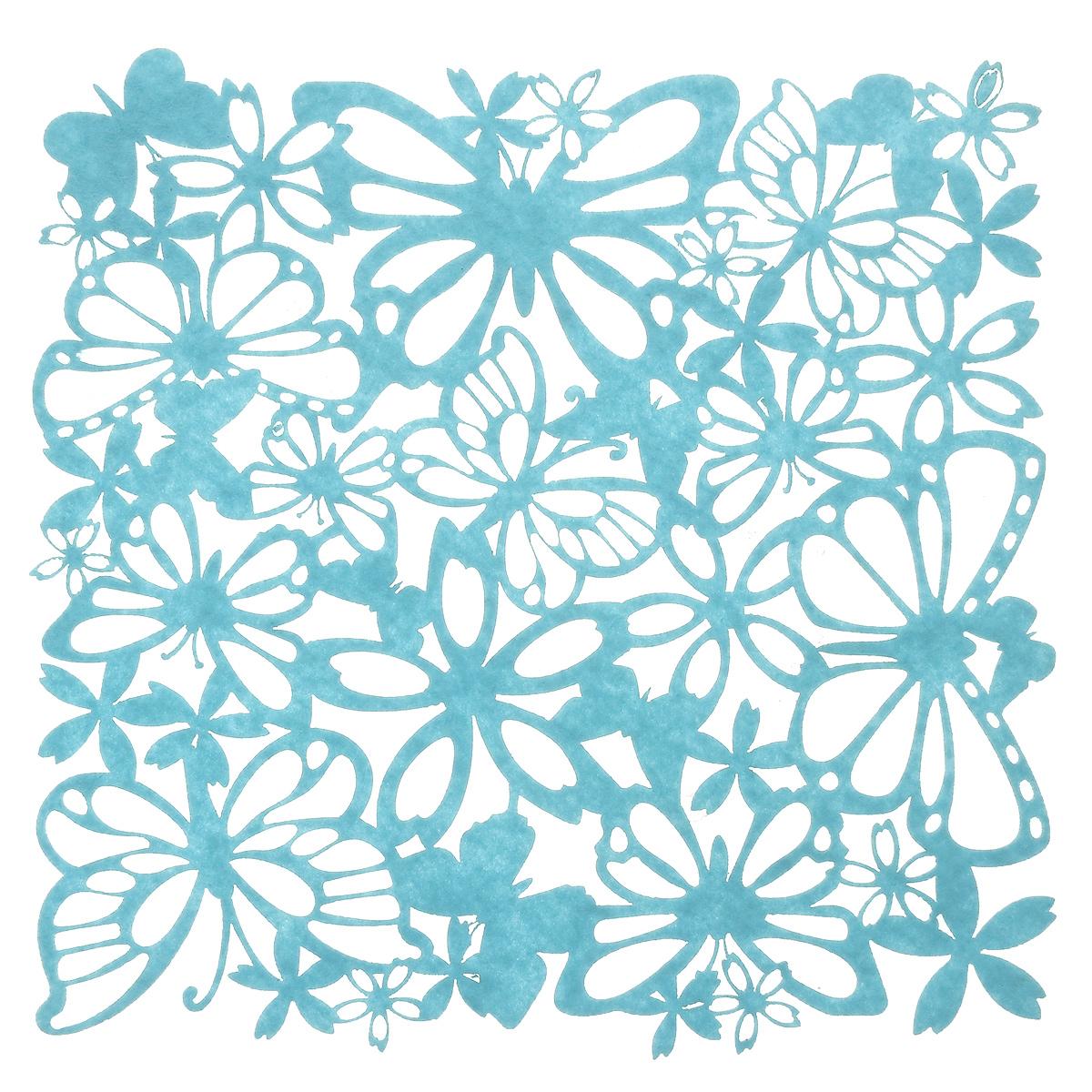 Салфетка Home Queen Взмах крыльев, цвет: голубой, 30 см х 30 см115510Квадратная салфетка Home Queen Взмах крыльев изготовлена из фетра и оформлена изысканной перфорацией в виде цветочных узоров и бабочек. Такая салфетка прекрасно подойдет для украшения интерьера кухни, она сбережет стол от высоких температур и грязи.