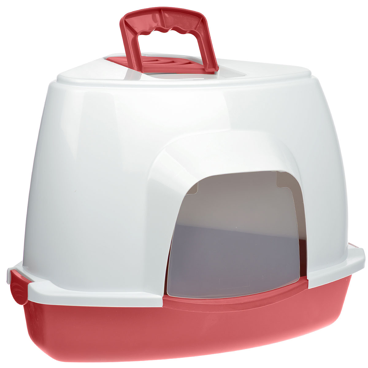 Туалет для кошек Fauna Kitty Luxer, цвет: красный, белый, 38 см х 38 см х 56 см1066100100099Закрытый угловой туалет для кошек Fauna Kitty Luxer выполнен из высококачественного пластика. Туалет довольно вместительный и напоминает домик. Он оснащен прозрачной открывающейся дверцей, сменным угольным фильтром и удобной ручкой для переноски. Такой туалет избавит ваш дом от неприятного запаха и разбросанных повсюду частичек наполнителя. Кошка в таком туалете будет чувствовать себя увереннее, ведь в этом укромном уголке ее никто не увидит. Кроме того, яркий дизайн с легкостью впишется в интерьер вашего дома. Туалет легко открывается для чистки благодаря практичным защелкам по бокам.