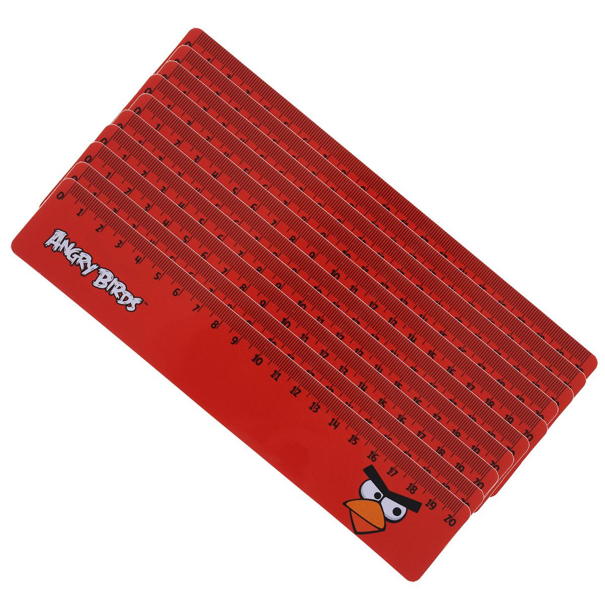 Линейка Centrum Angry Birds, 20 см, 10 шт745640Двухсторонняя линейка Centrum Angry Birds обязательно придется по вкусу любому поклоннику знаменитой игры Angry Birds. Она выполнена из прочного пластика красного цвета и оформлена изображением красной сердитой птички. Линейка имеет сантиметровую шкалу до 20 см. Цифры нанесены крупным шрифтом и не вызывают затруднений при чтении. В комплект входят 10 линеек.Линейка - это незаменимый атрибут, необходимый каждому школьнику или студенту, упрощающий измерение и обеспечивающий ровность проводимых линий. А с линейкой Angry birds учиться будет интересно и весело!