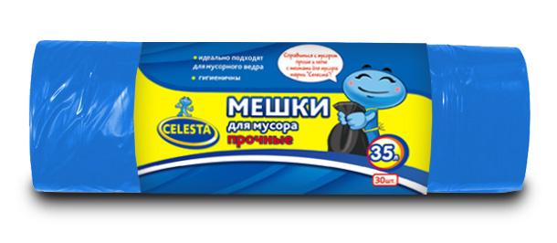 Мешки для мусора Celesta, цвет: синий, 35 л, 30 штES-412Мешки для мусора Celesta применяются для хранения и транспортировки бытовых мусорных и продуктовых отходов. Идеально подходят для мусорного ведра, гигиеничные, прочные. Отрываются строго по линии перфорации. Комплектация: 30 шт.