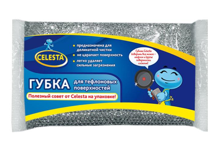 Губка для тефлоновых поверхностей Celesta, цвет: серебристый531-105Губка Celesta идеально подходит для мытья посуды с тефлоновым покрытием и других деликатных поверхностей. Отмывает посуду от сильных загрязнений. Может использоваться для чистки сантехники, кафеля, керамики, стекла и посуды из нержавеющей стали. Размер губки: 13 см х 9 см х 2 см.