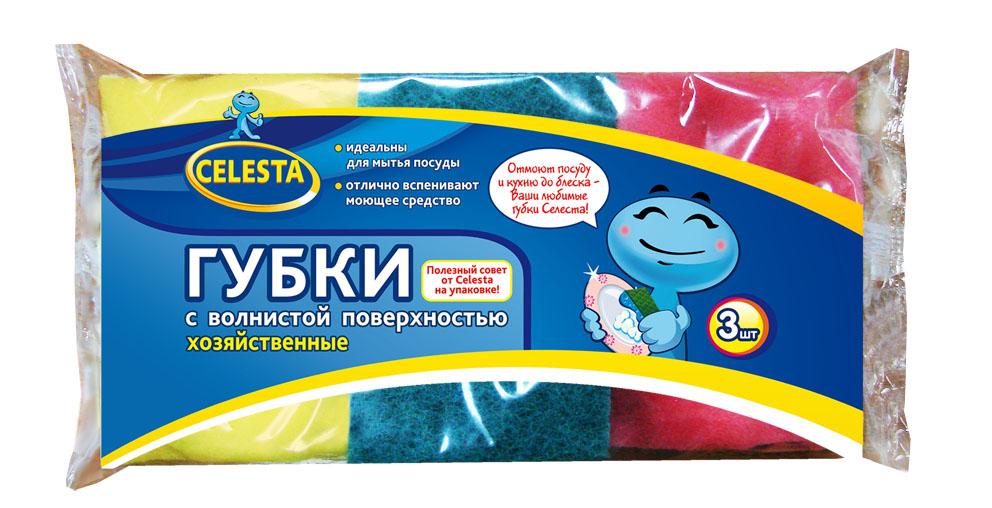 Губки хозяйственные Celesta, с волнистой поверхностью, 3 шт10503Хозяйственные губки Celesta с волнистой поверхностью предназначены для мытья посуды, раковин, плит. Мягкий слой для деликатного мытья, а жесткий слой для сильных загрязнений. Размер губки: 9,5 см х 6,5 см х 3,5 см. Комплектация: 3 шт.