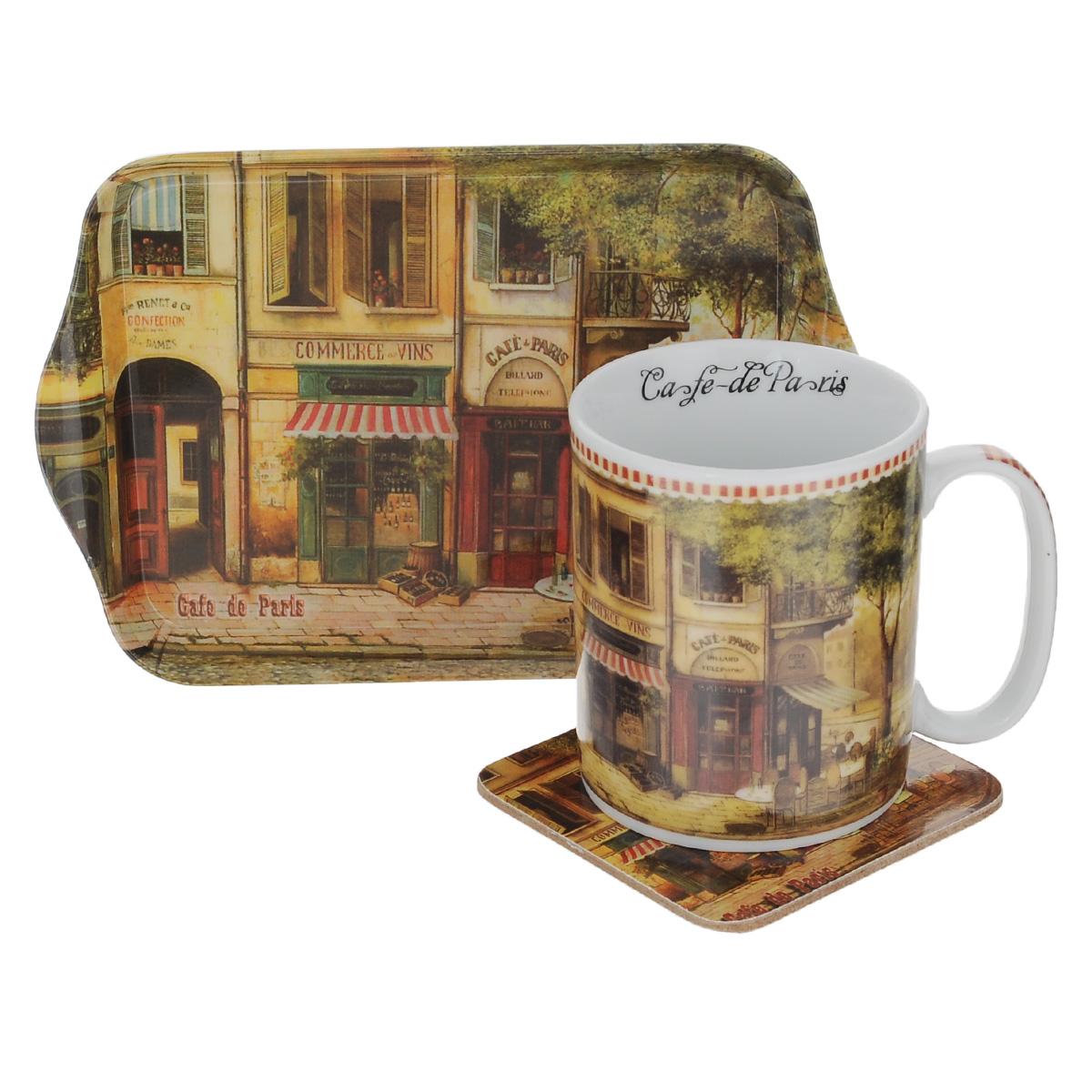 Набор чайный GiftnHome Парижское кафе, 3 предмета115610Чайный набор GiftnHome Парижское кафе состоит из кружки, подноса и подставки под кружку. Все изделия декорированы красочным изображением. Кружка изготовлена из высококачественного фарфора и оснащена удобной ручкой. Поднос изготовлен из высококачественного пластика и предназначен для красивой сервировки стола. Подставка под кружку изготовлена из пробки. Ламинированное покрытие подставки обеспечивает стойкость к высоким температурам. Такая подставка защитит поверхность стола от загрязнений и воздействия высоких температур напитка. Оригинальный набор порадует вас своим дизайном и станет неизменным атрибутом чаепития. Чайный набор GiftnHome Парижское кафе прекрасно подойдет в качестве сувенира и привнесет индивидуальности в обычную сервировку стола. Диаметр кружки: 8 см.Высота: 9,5 см.Объем: 300 мл. Размер подноса: 21 см х 14 см х 1,7 см. Размер подставки: 10 см х 10 см х 2 см.