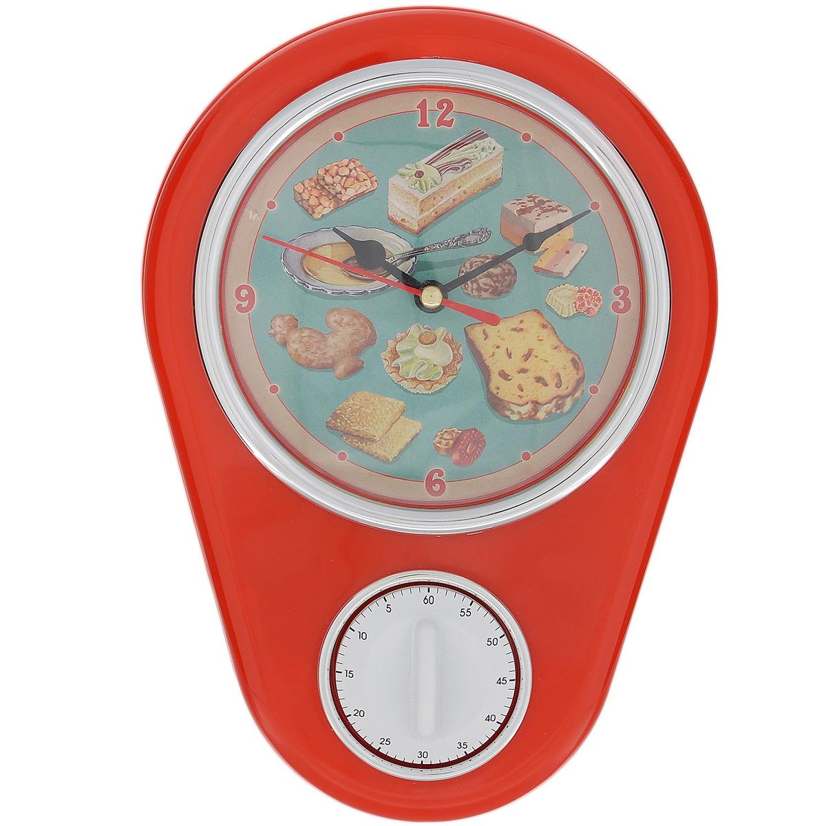 Часы кухонные Ретро-вкусности с таймером, настенные, цвет: красный904727Кухонные настенные часы Ретро-вкусности в ретро стиле прекрасно дополнят интерьер кухни. Корпус выполнен из высококачественного пластика. Все механизмы скрыты в корпусе. Циферблат круглой формы, оформленный крупными арабскими цифрами и изображением сладостей, защищен стеклом. Имеется встроенный таймер на 60 минут, его удобно использовать во время приготовления блюд. Часы подвешиваются на стену. Часы работают от одной пальчиковой батарейки тип АА (не входит в комплект).Диаметр циферблата: 11,3 см. Размер часов: 16 см х 5 см х 22,5 см.