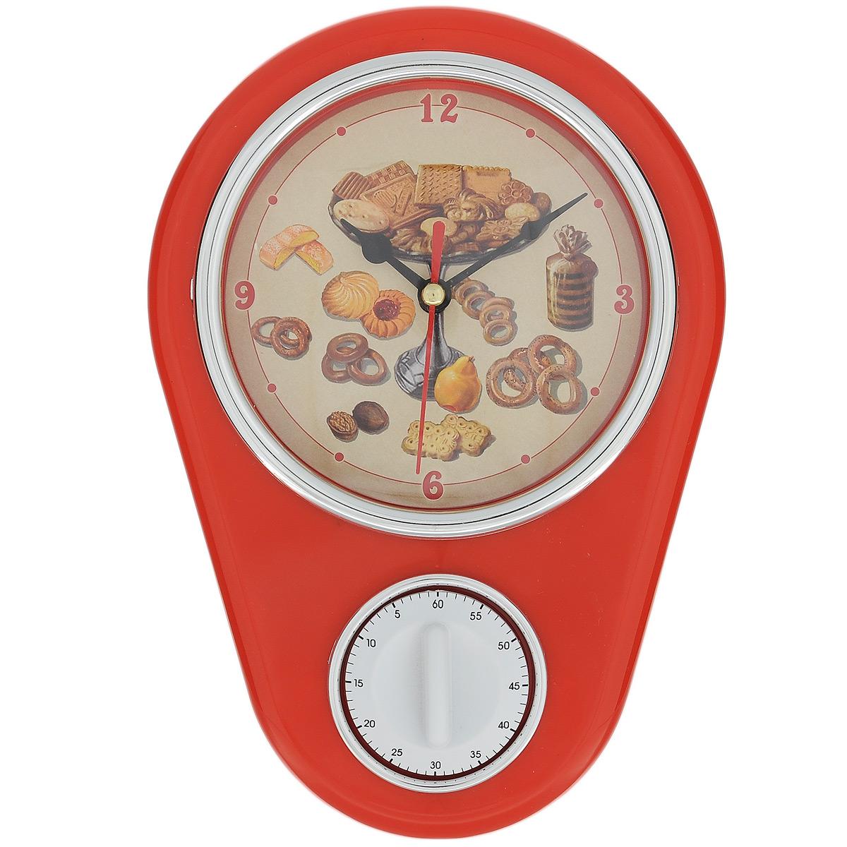 Часы кухонные Печенье с таймером, настенные, цвет: красный37385Кухонные настенные часы Печенье в ретро стиле прекрасно дополнят интерьер кухни. Корпус выполнен из высококачественного пластика. Все механизмы скрыты в корпусе. Циферблат круглой формы, оформленный крупными арабскими цифрами и изображением печенья, защищен стеклом. Имеется встроенный таймер на 60 минут, его удобно использовать во время приготовления блюд. Часы подвешиваются на стену. Часы работают от одной пальчиковой батарейки тип АА (не входит в комплект).Диаметр циферблата: 11,3 см. Размер часов: 16 см х 5 см х 22,5 см.