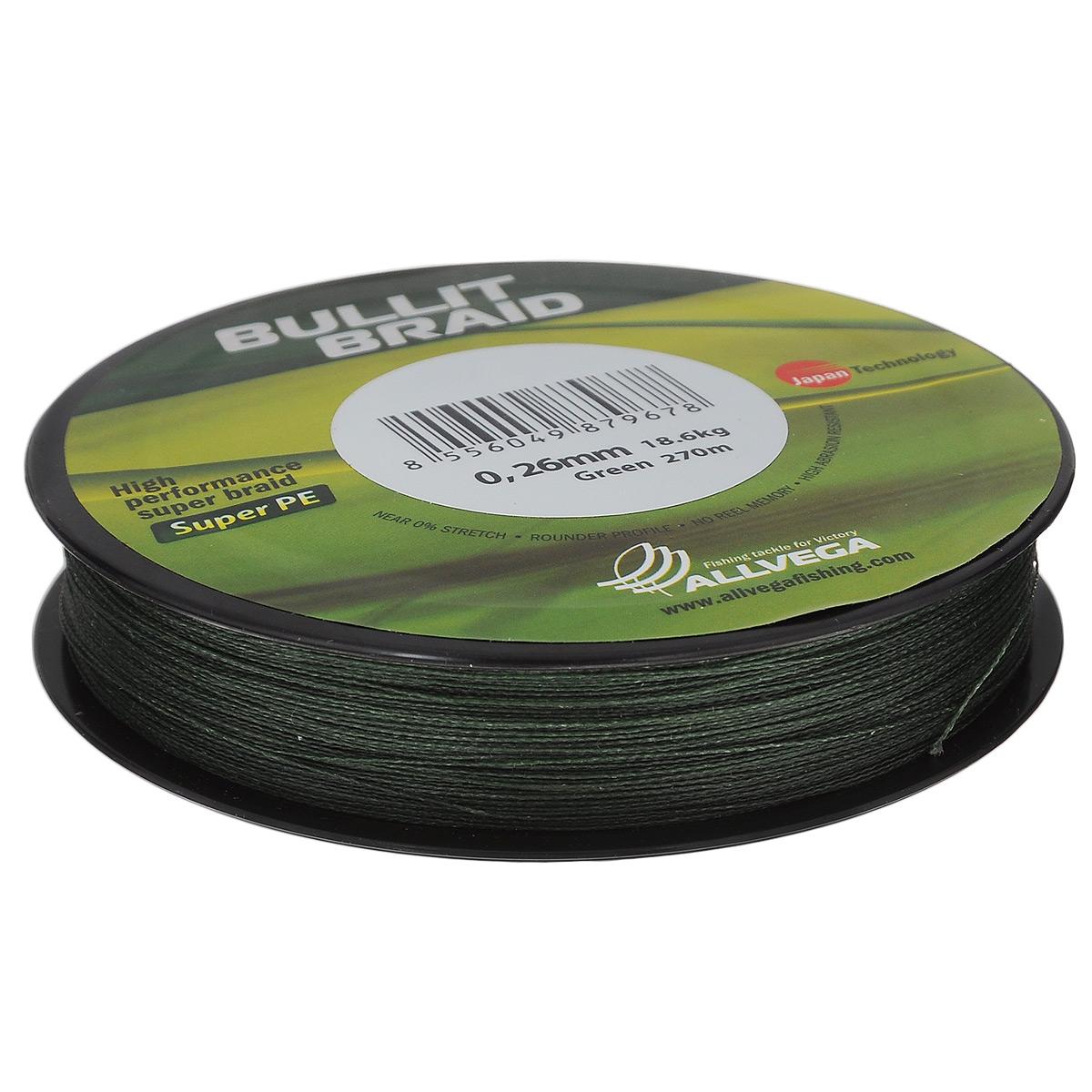 Леска плетеная Allvega Bullit Braid, цвет: темно-зеленый, 270 м, 0,26 мм, 18,6 кгPP092MGR013Леска Allvega Bullit Braid разработана с учетом новейших японских технологий в сфере строения волокон. Благодаря микроволокнам полиэтилена (Super PE) леска имеет очень плотное плетение, не впитывает воду, имеет гладкую круглую поверхность и одинаковое сечение по всей длине.