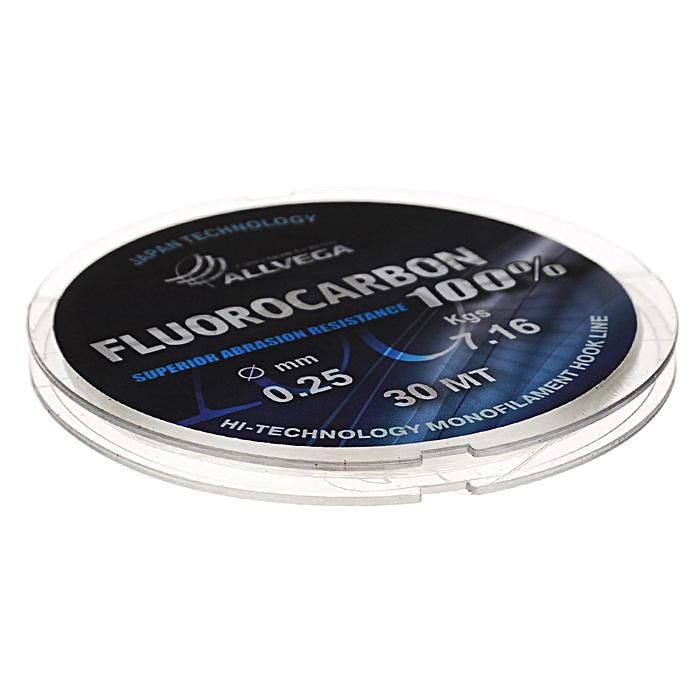 Леска Allvega FX Fluorocarbon 100%, цвет: прозрачный, 30 м, 0,25 мм, 7,16 кг606-01709Allvega FX Fluorocarbon 100% имеет коэффициент преломления света, близкий к коэффициенту преломления света воды, поэтому эта леска незаметна в воде и незаменима во многих случаях. Широко используется в качестве поводковой лески, как для мирных рыб, так и для хищников. Кроме прозрачности, так же обладает высокой устойчивостью к внешним механическим воздействиям, таким как камни, песок, ракушечник, зубы хищников. Обладает малой растяжимостью, что позволяет более четко определять поклевку и просекать рыбу.