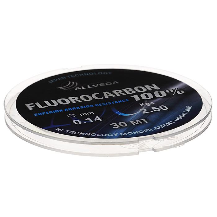 Леска Allvega FX Fluorocarbon 100%, цвет: прозрачный, 30 м, 0,14 мм, 2,5 кг26766Allvega FX Fluorocarbon 100% имеет коэффициент преломления света, близкий к коэффициенту преломления света воды, поэтому эта леска незаметна в воде и незаменима во многих случаях. Широко используется в качестве поводковой лески, как для мирных рыб, так и для хищников. Кроме прозрачности, так же обладает высокой устойчивостью к внешним механическим воздействиям, таким как камни, песок, ракушечник, зубы хищников. Обладает малой растяжимостью, что позволяет более четко определять поклевку и просекать рыбу.