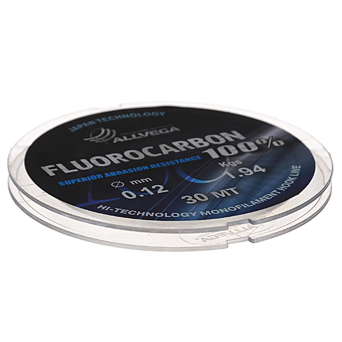 Леска Allvega FX Fluorocarbon 100%, цвет: прозрачный, 30 м, 0,12 мм, 1,94 кг39926Allvega FX Fluorocarbon 100% имеет коэффициент преломления света, близкий к коэффициенту преломления света воды, поэтому эта леска незаметна в воде и незаменима во многих случаях. Широко используется в качестве поводковой лески, как для мирных рыб, так и для хищников. Кроме прозрачности, так же обладает высокой устойчивостью к внешним механическим воздействиям, таким как камни, песок, ракушечник, зубы хищников. Обладает малой растяжимостью, что позволяет более четко определять поклевку и просекать рыбу.