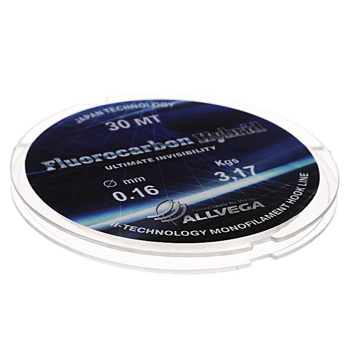 Леска Allvega Fluorocarbon Hybrid, цвет: прозрачный, 30 м, 0,16 мм, 3,17 кг59273Прозрачная леска Allvega Fluorocarbon Hybrid, состоящая из 65 % флюрокарбона. Флюрокарбоновое покрытие позволяет максимально повысить характеристики, при этом цена лески остается относительно низкой.