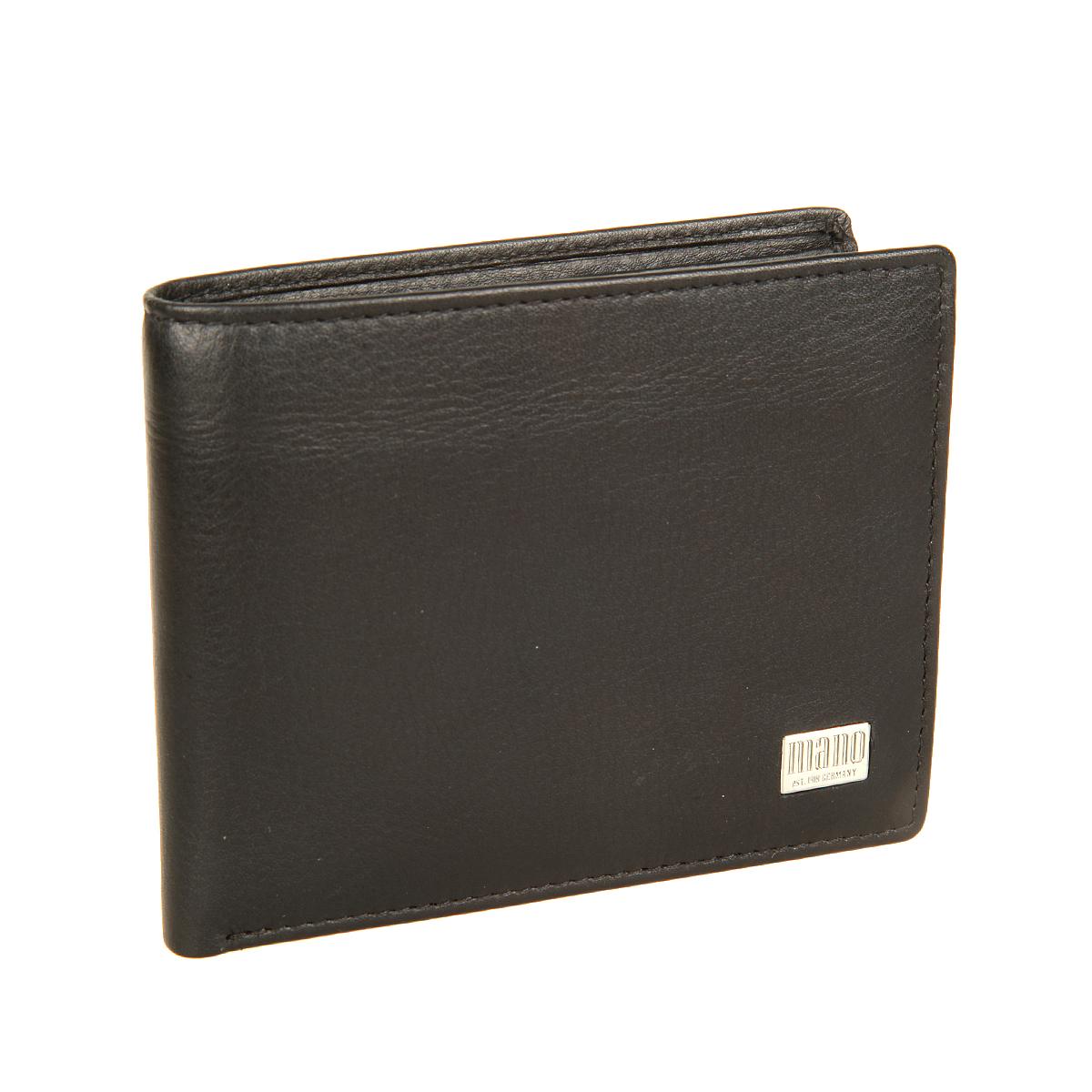 Портмоне мужское Mano, цвет: черный. 15810INT-06501Стильное мужское портмоне Mano выполнен из натуральной кожи, оформлено не большой пластинкой с логотипом бренда. Внутри - два отделения для купюр, карман для мелочи с клапаном на кнопке, два потайных кармашка и три кармашка для пластиковых карт Портмоне Mano станет яркой деталью, которая выгодно подчеркнет ваш стильный неповторимый образ. Модель упакована в фирменную коробку с логотипом бренда.