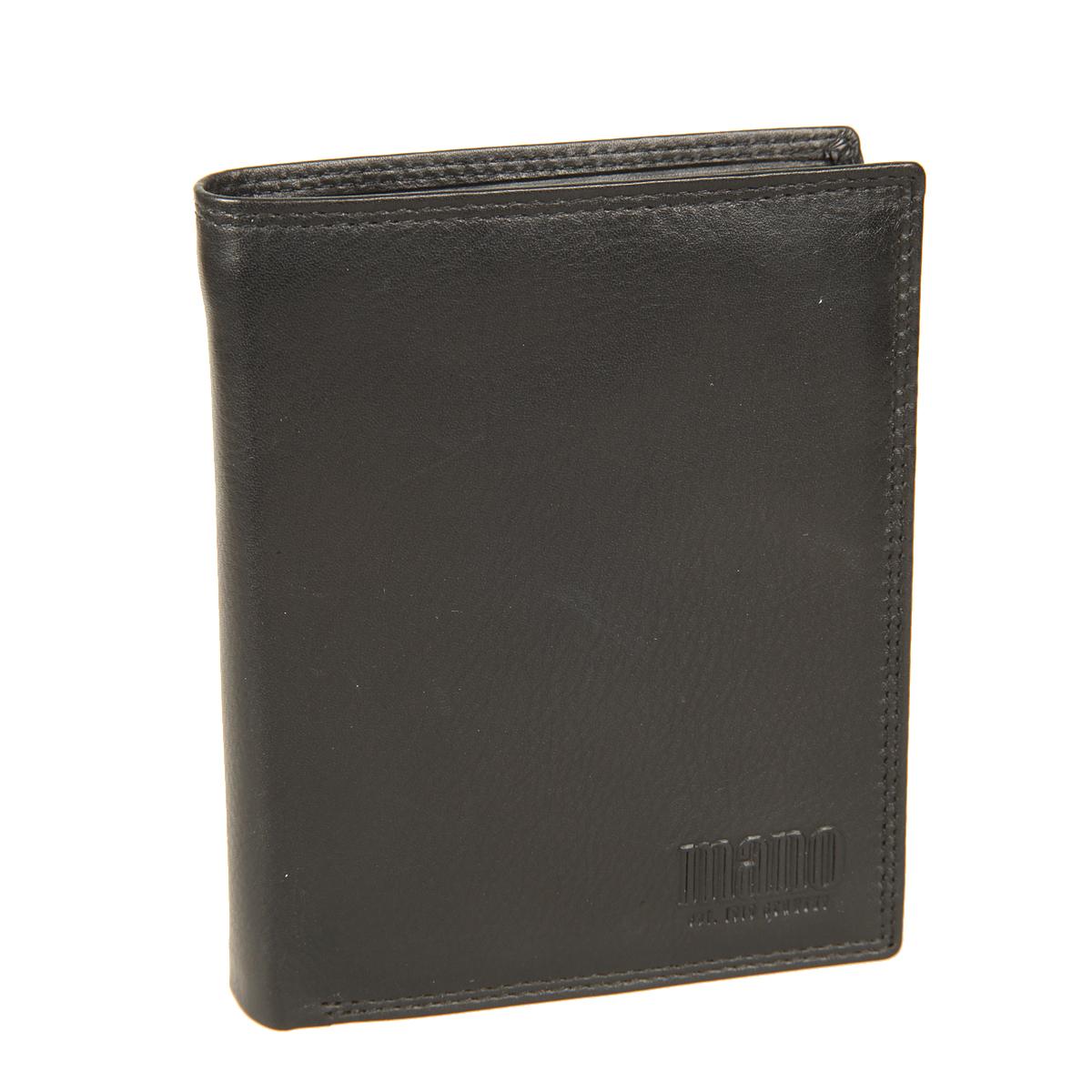 Портмоне мужское Mano, цвет: черный. 19020BM8434-58AEСтильное мужское портмоне Mano выполнено из натуральной кожи, оформлено объемной надписью в виде логотипа бренда. Внутри - два отделения для купюр, карман на застежке-молнии, карман для мелочи с клапаном на кнопке, четыре потайных кармашка, один кармашек с сетчатой вставкой и восемь отделений для визитных и кредитных карточек.Портмоне упаковано в фирменную картонную коробку.
