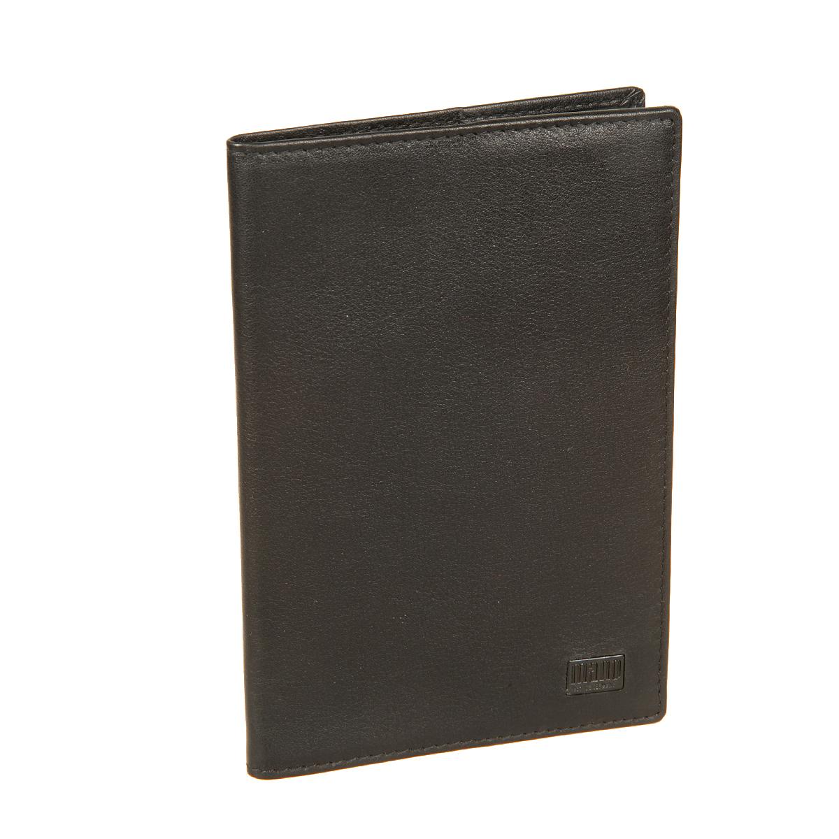 Обложка для паспорта мужская Mano, цвет: черный. 1915219152 certo blackОбложка выполнена из натуральной кожи и оформлена не больший пластинкой с логотипом бренда. Внутренние стороны обложки также выполнены из натуральной кожи.Обложка упакована в фирменную картонную коробку.