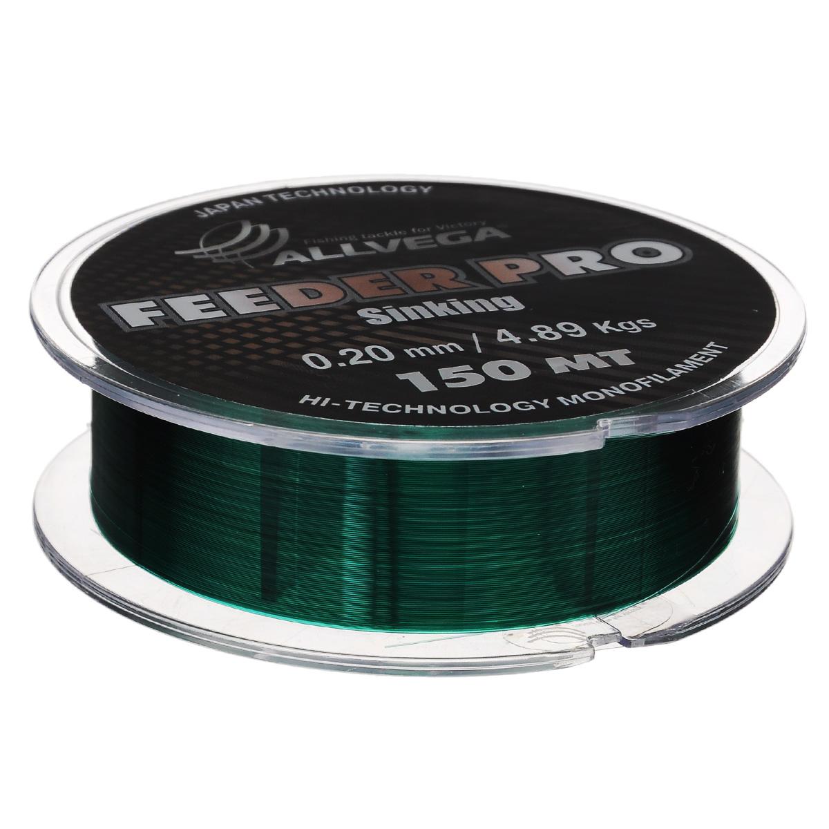 Леска Allvega Feeder Pro Sinking, цвет: темно-зеленый, 150 м, 0,2 мм, 4,89 кг1232632Леска Allvega Feeder Pro Sinking предназначена для фидерной ловли. Обладает всеми необходимыми характеристиками для фидерной ловли. Это - повышенная стойкость к перетиранию о бровки, камни и ракушечник, отлично тонет, имеет малую растяжимость, окрашена в темно-зеленый цвет. Может с успехом использоваться в матчевой ловле и при ловле на зимнюю поплавочную удочку.