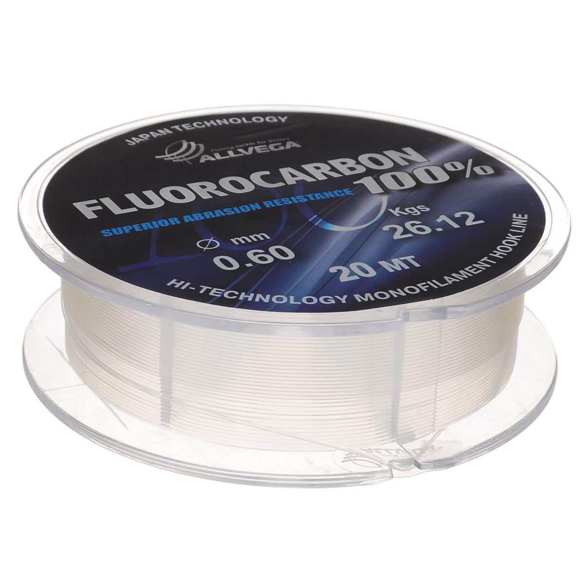 Леска Allvega FX Fluorocarbon 100%, цвет: прозрачный, 20 м, 0,6 мм, 26,12 кг36268Allvega FX Fluorocarbon 100% имеет коэффициент преломления света, близкий к коэффициенту преломления света воды, поэтому эта леска незаметна в воде и незаменима во многих случаях. Широко используется в качестве поводковой лески, как для мирных рыб, так и для хищников. Кроме прозрачности, так же обладает высокой устойчивостью к внешним механическим воздействиям, таким как камни, песок, ракушечник, зубы хищников. Обладает малой растяжимостью, что позволяет более четко определять поклевку и просекать рыбу.