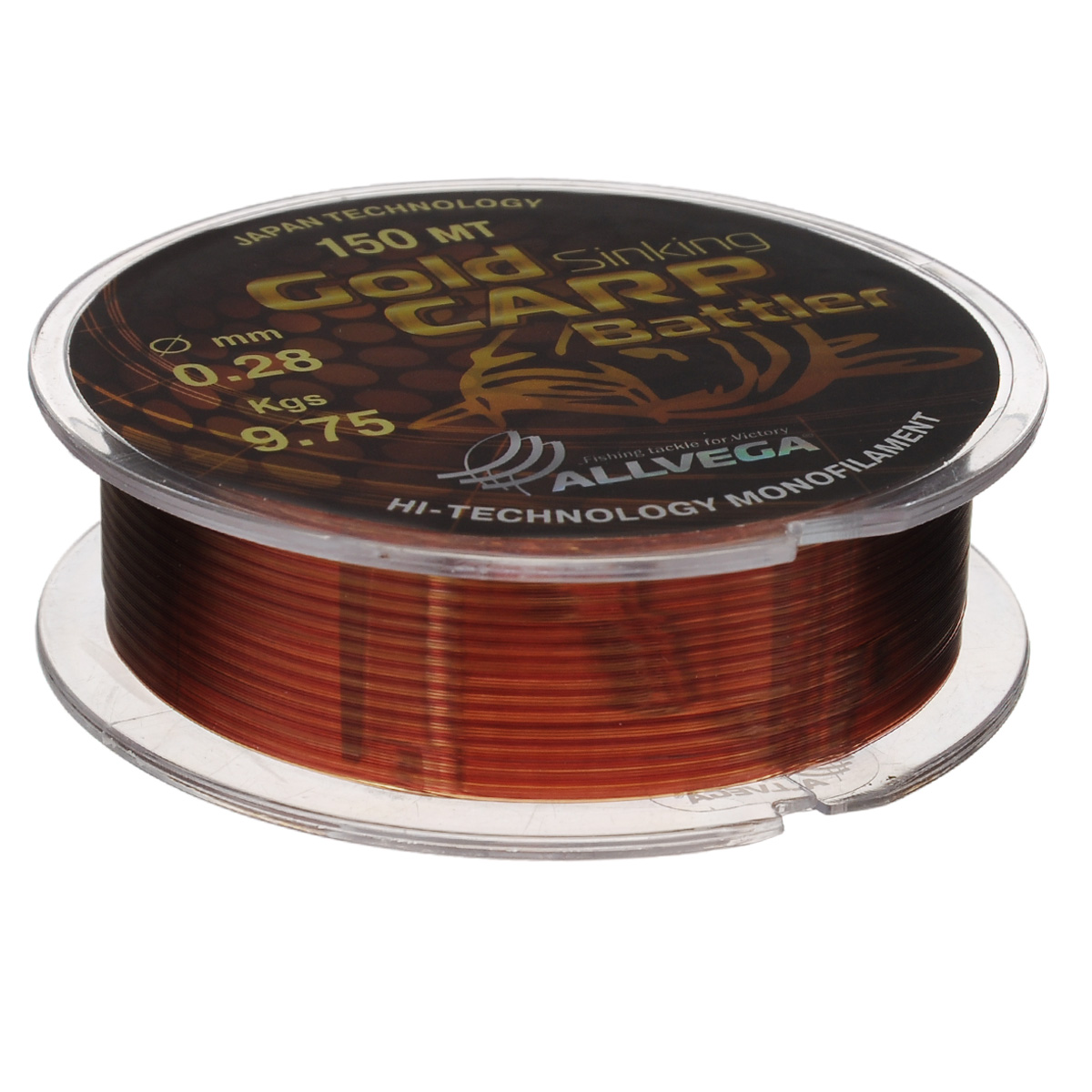 Леска Allvega Gold Karp Battler, цвет: коричневый, 150 м, 0,28 мм, 9,75 кг39949Карповая леска Allvega Gold Karp Battler была разработана для ловли действительно крупной рыбы. Способна противостоять большим нагрузкам в условиях густой растительности и коряжнике. Специальный цвет имеет неоднородную структуру, что позволяет быть не заметной на дне. Хорошо тонет, что является важным критерием для выбора карповой лески.